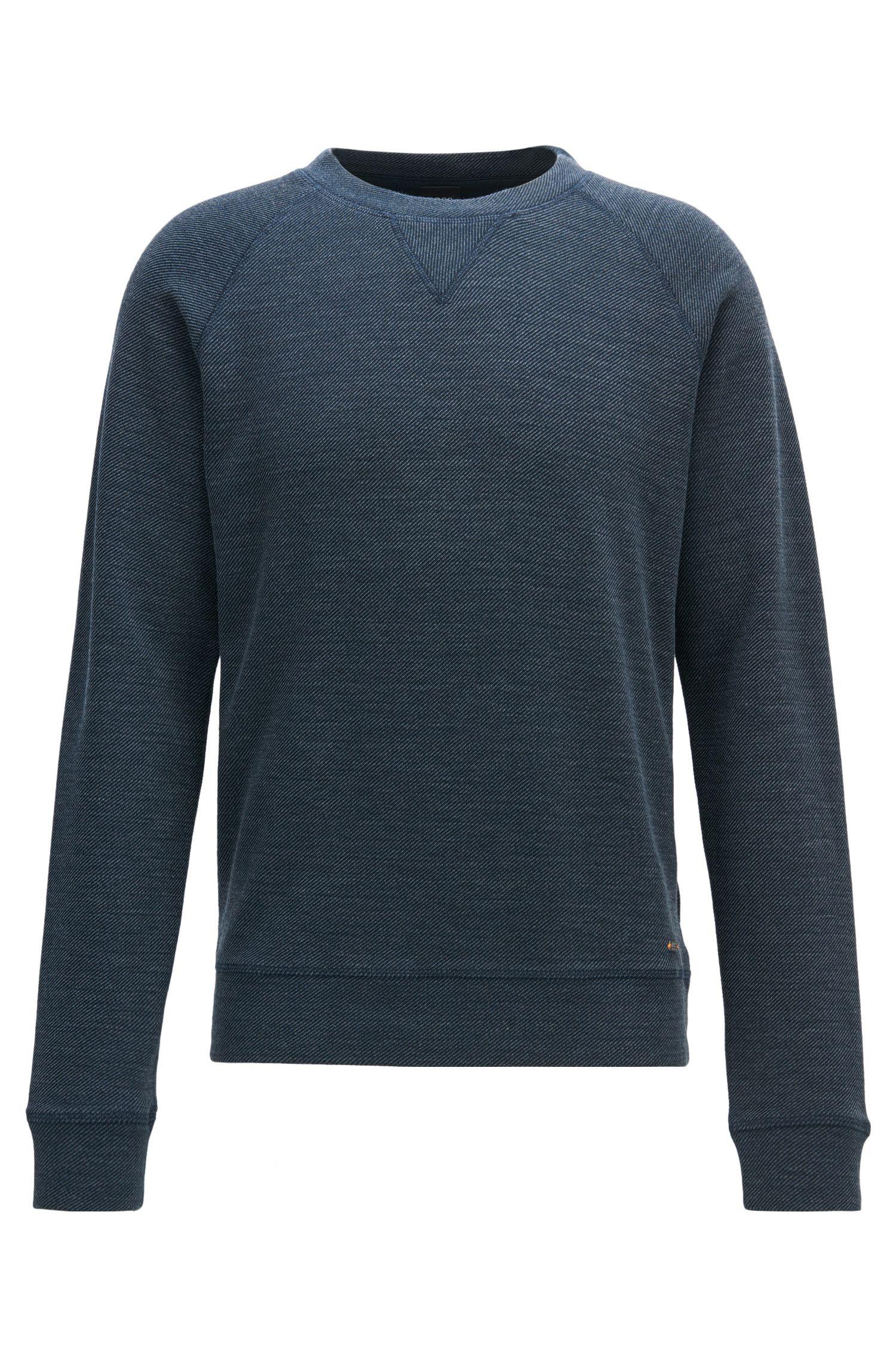 Sweater met ronde hals van een gestructureerde katoenmix