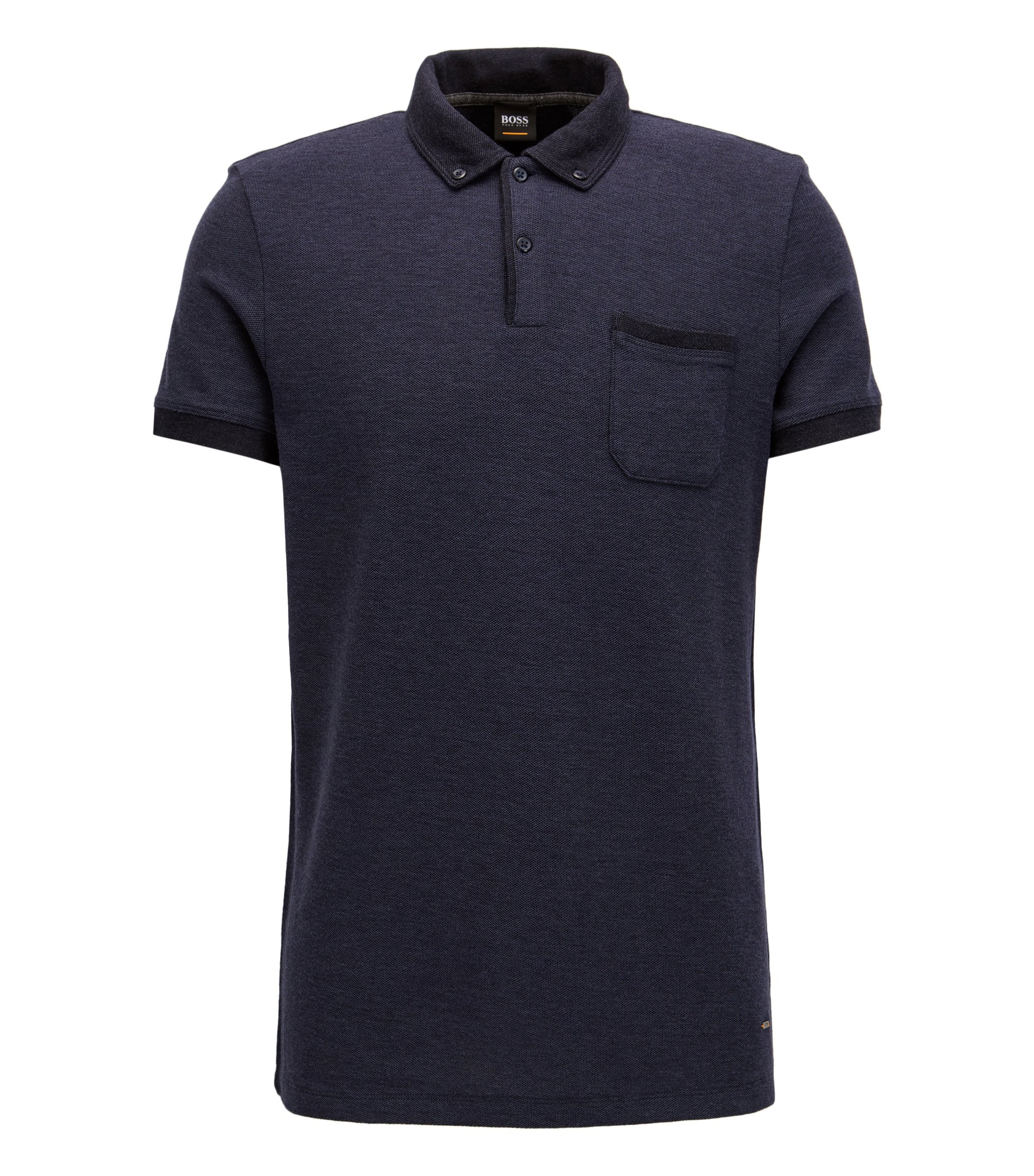 Regular-fit melange polo shirt in cotton-blend piqué with contrast accents, Dark Blue