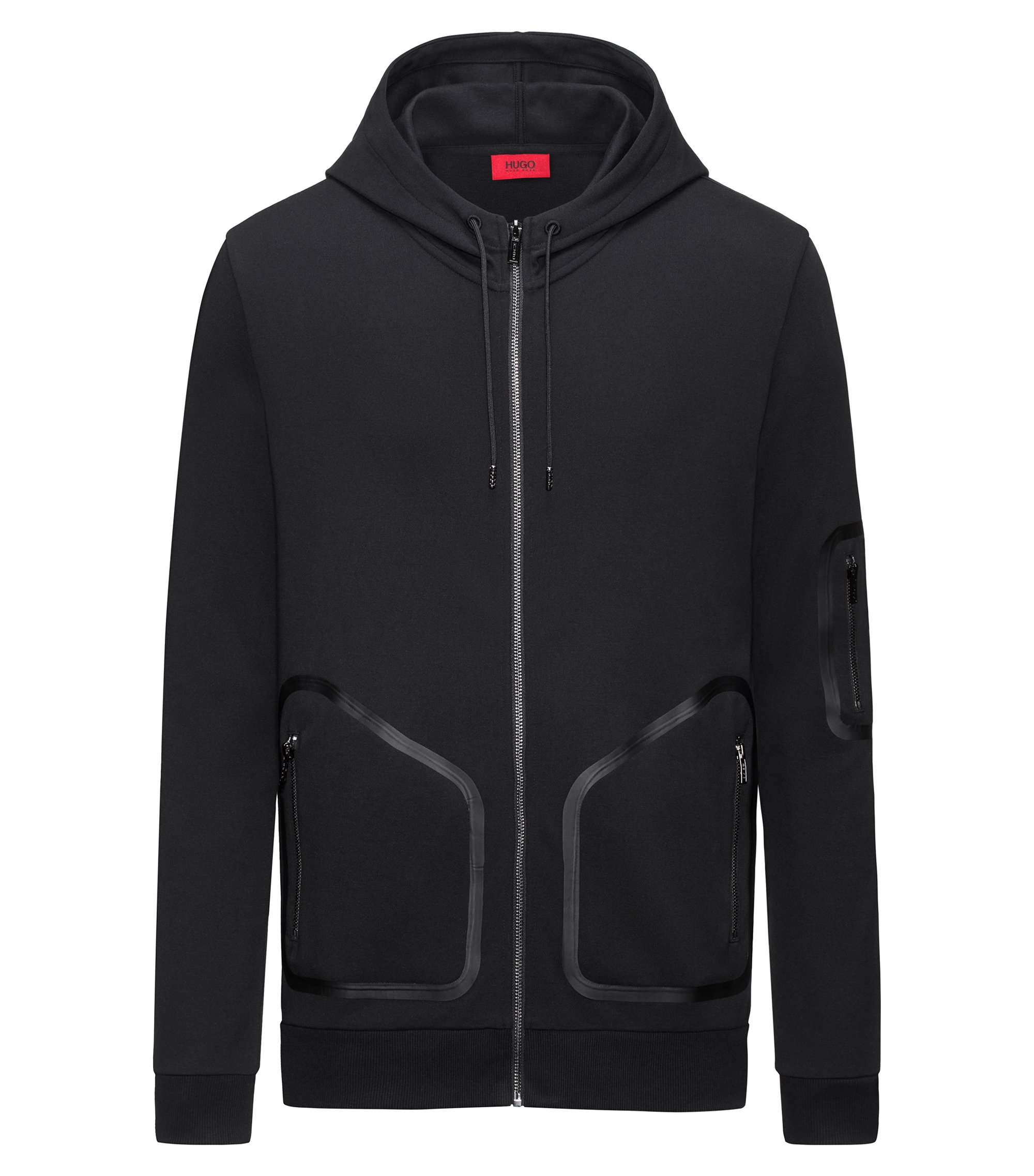 Relaxed-fit zip-through jacket in interlock cotton, Black