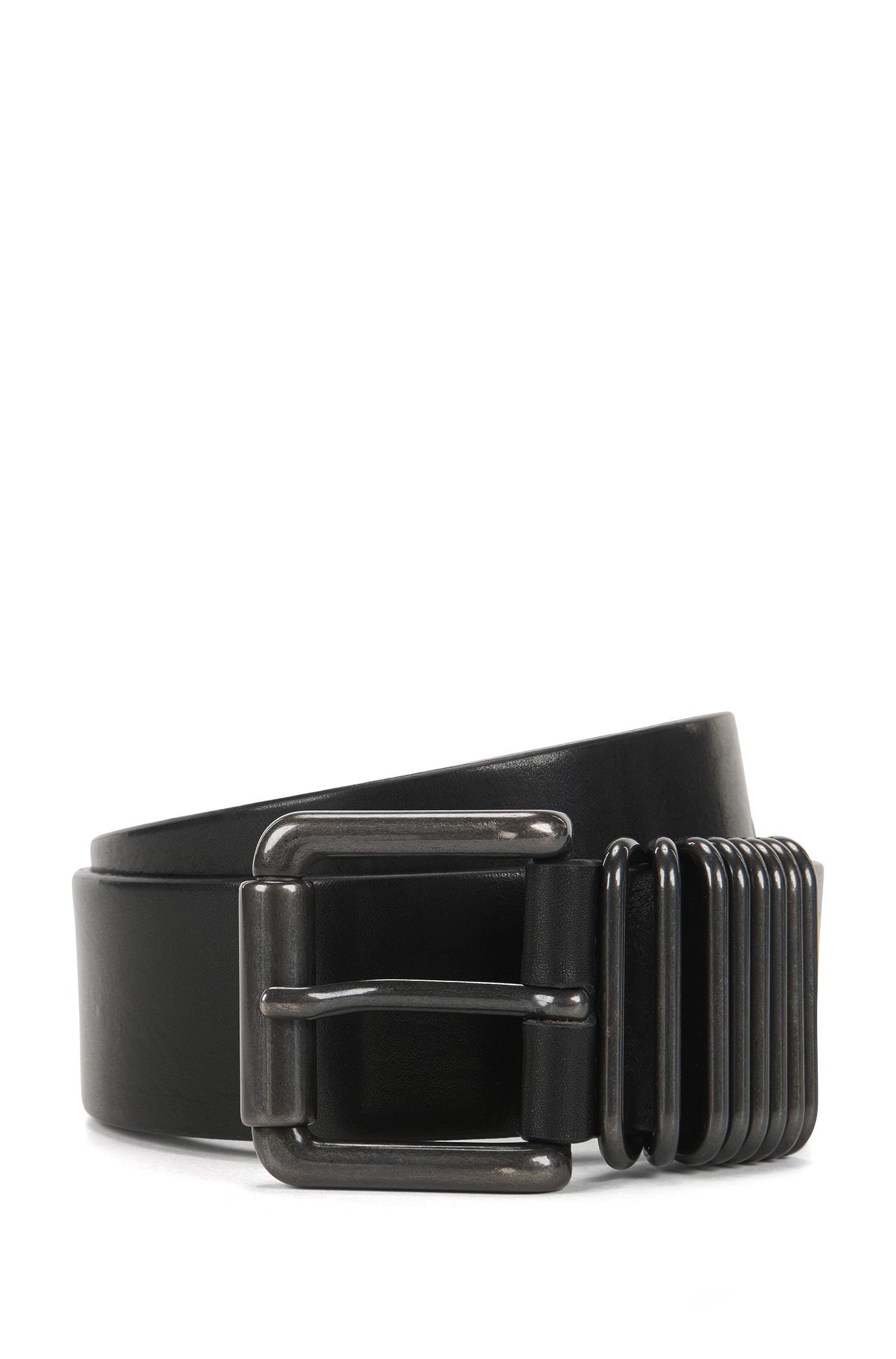 Leather belt with gunmetal keeper loops