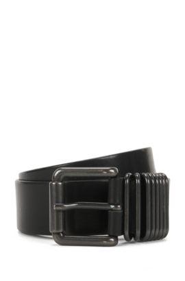 Leather belt with gunmetal keeper loops, Black