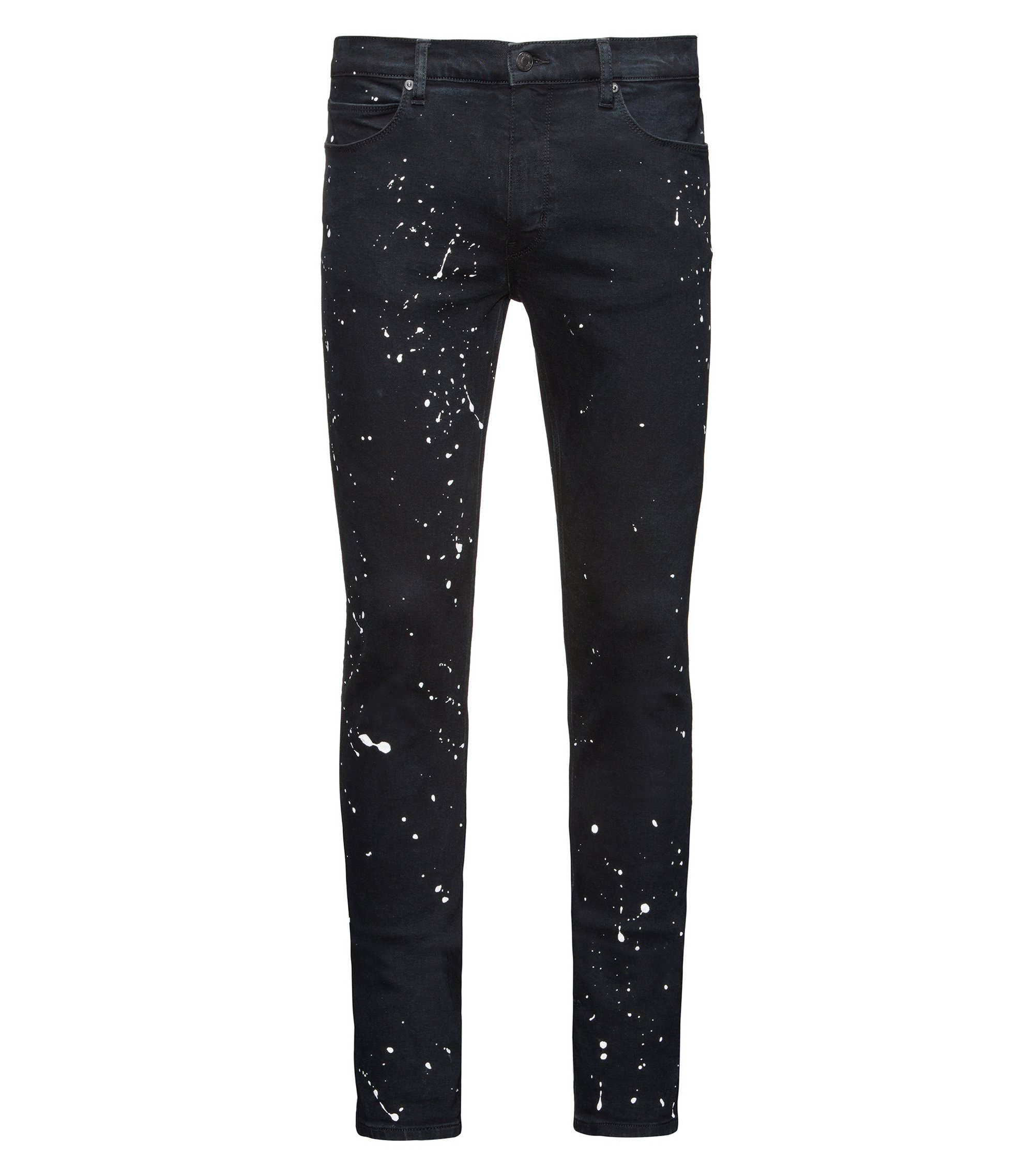 Jean Skinny Fit en denim super stretch à motif taches de peinture, Noir