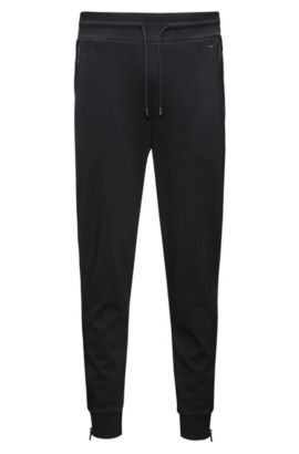 Regular-fit joggingbroek van interlocked katoens, Zwart