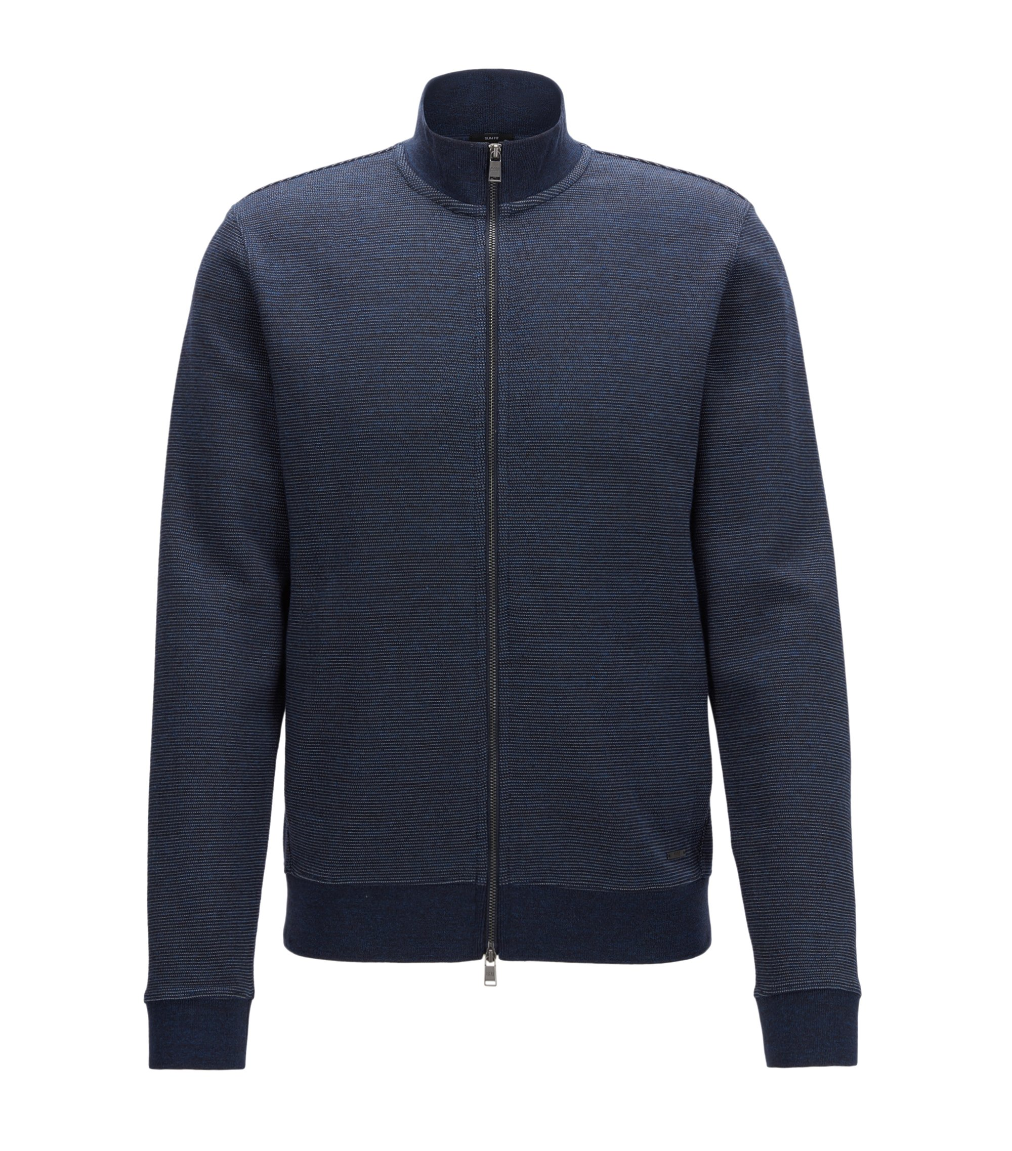 Slim-Fit Jacke aus zweifarbigem Baumwoll-Mix, Dunkelblau