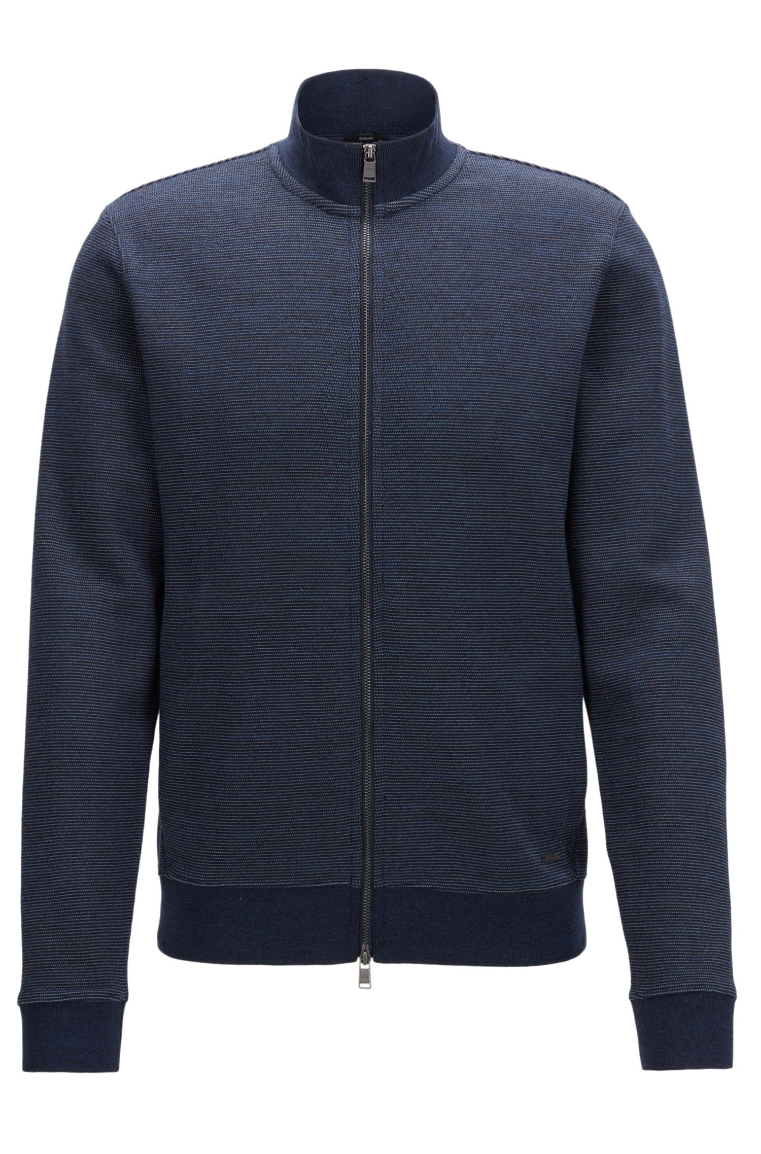 Slim-Fit Jacke aus zweifarbigem Baumwoll-Mix