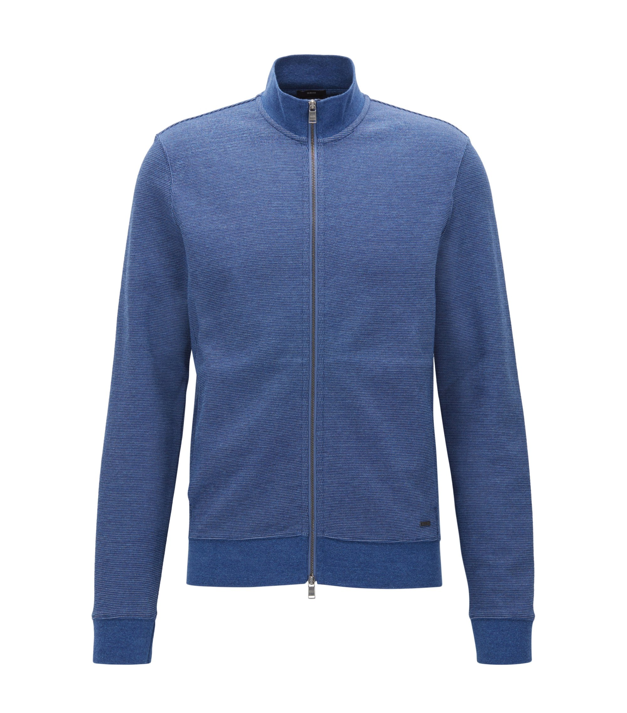 Slim-fit jacket in a two-tone cotton blend, Blue