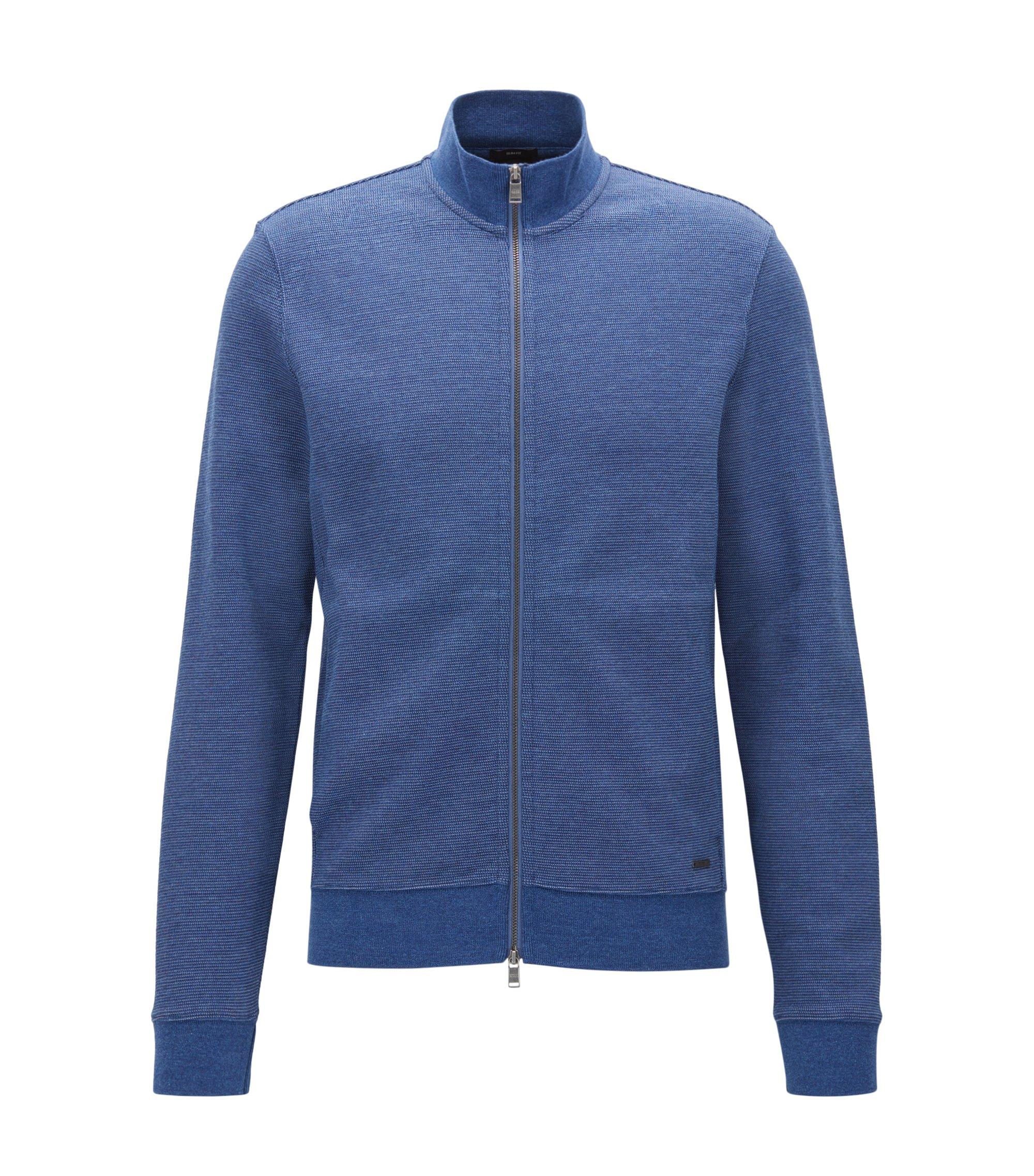 Slim-Fit Jacke aus zweifarbigem Baumwoll-Mix, Blau