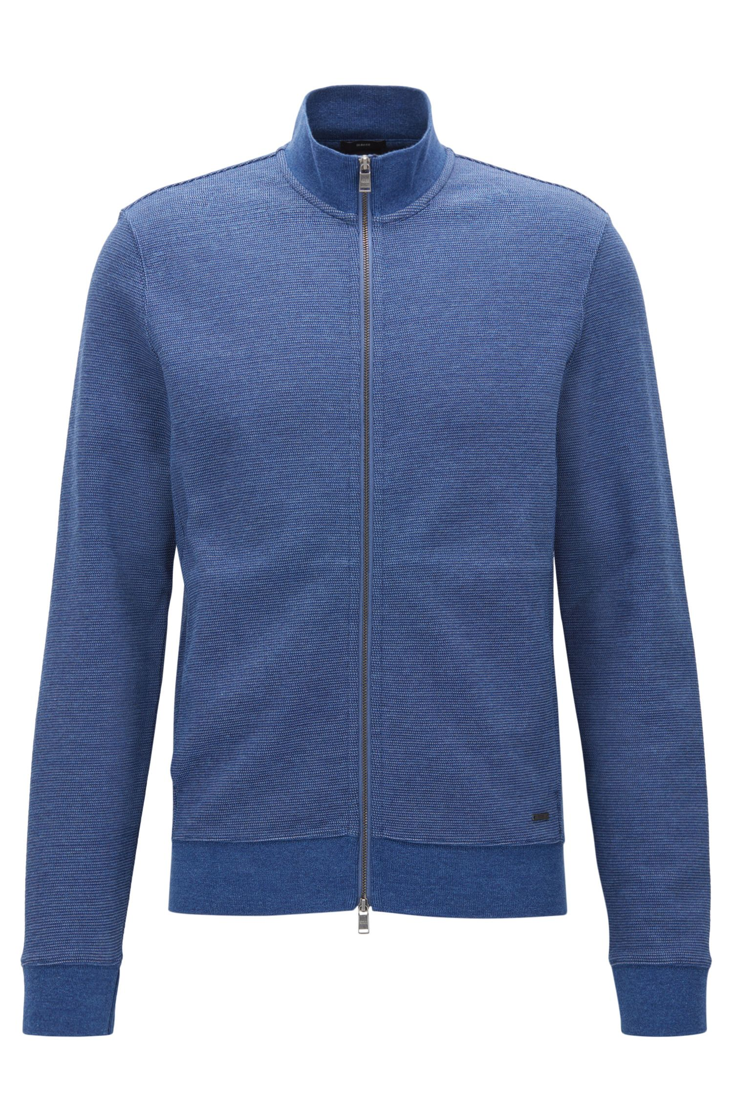 Slim-fit jacket in a two-tone cotton blend