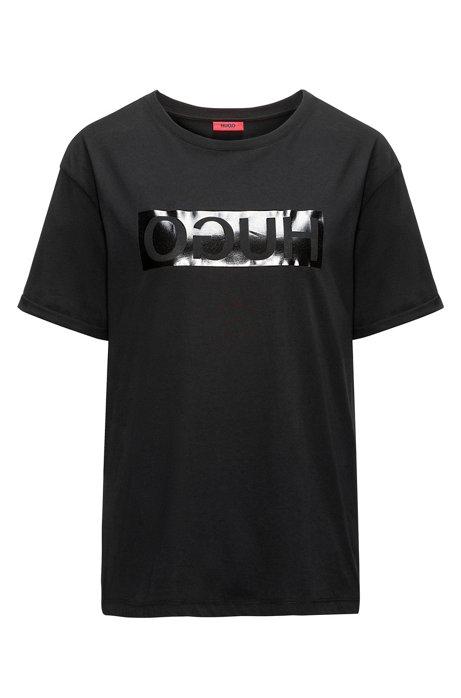 Geniue Stockist Sale Online Manchester Great Sale Cheap Online Short-sleeved cotton T-shirt with metallic reversed logo HUGO BOSS AAmvfZNs