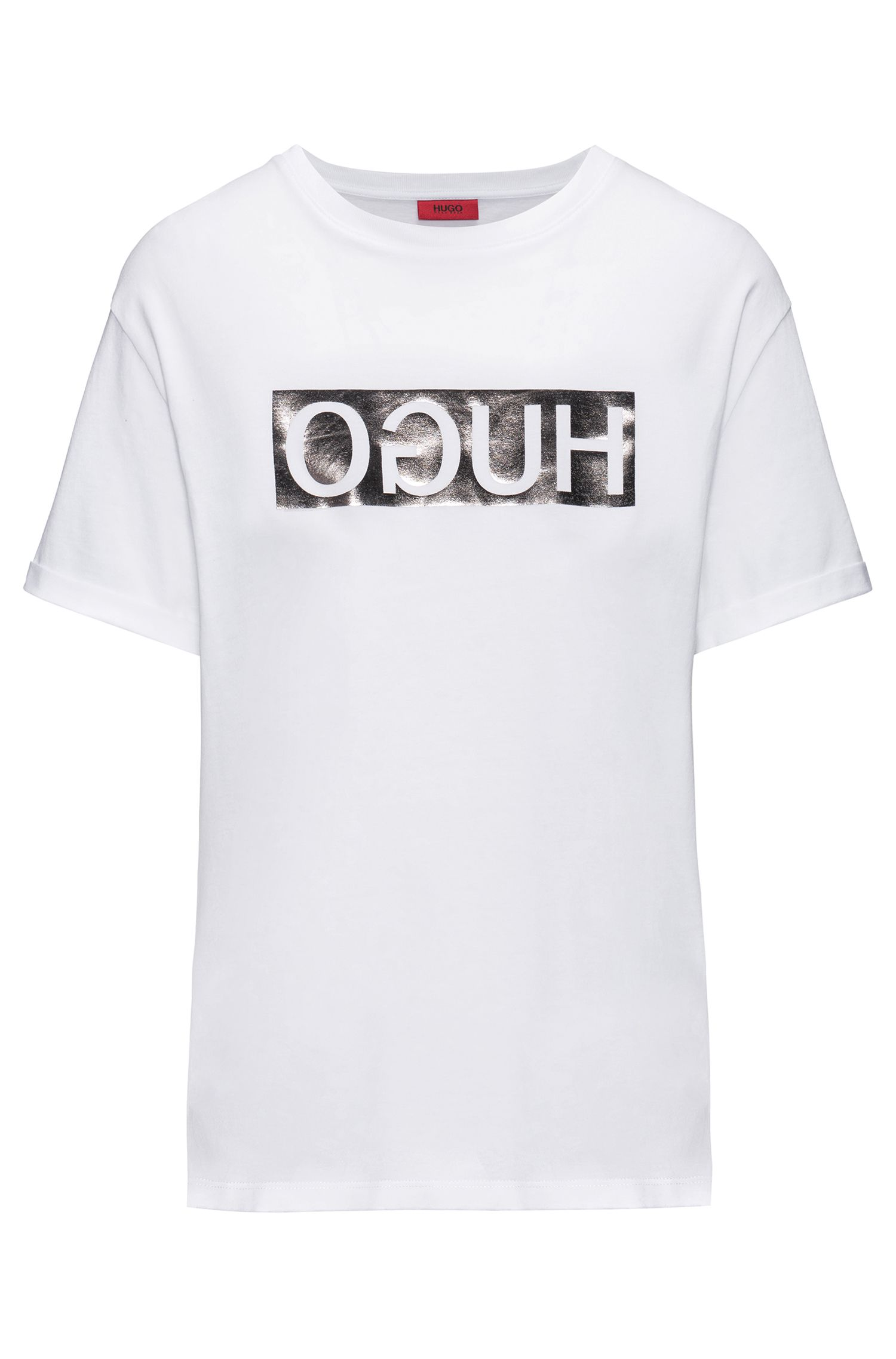 Short-sleeved cotton T-shirt with metallic reversed logo