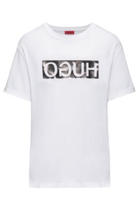 Reverse logo cotton jersey T-shirt in a relaxed fit, White