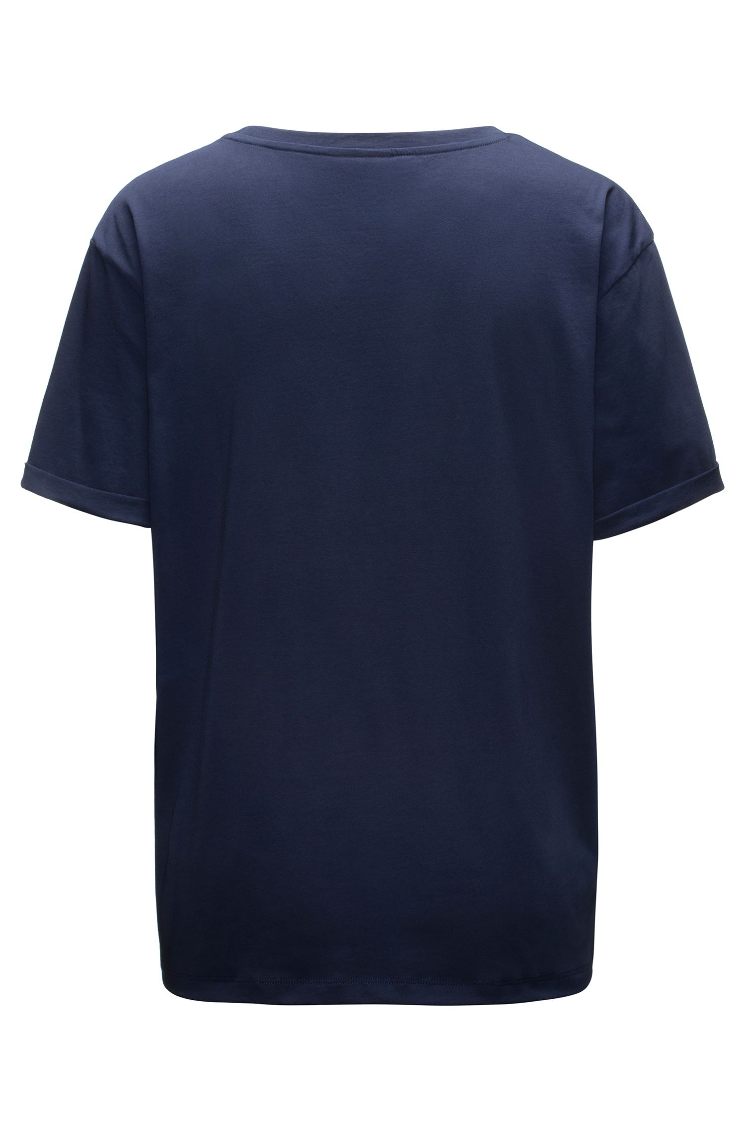 Short-sleeved cotton T-shirt with metallic reversed logo