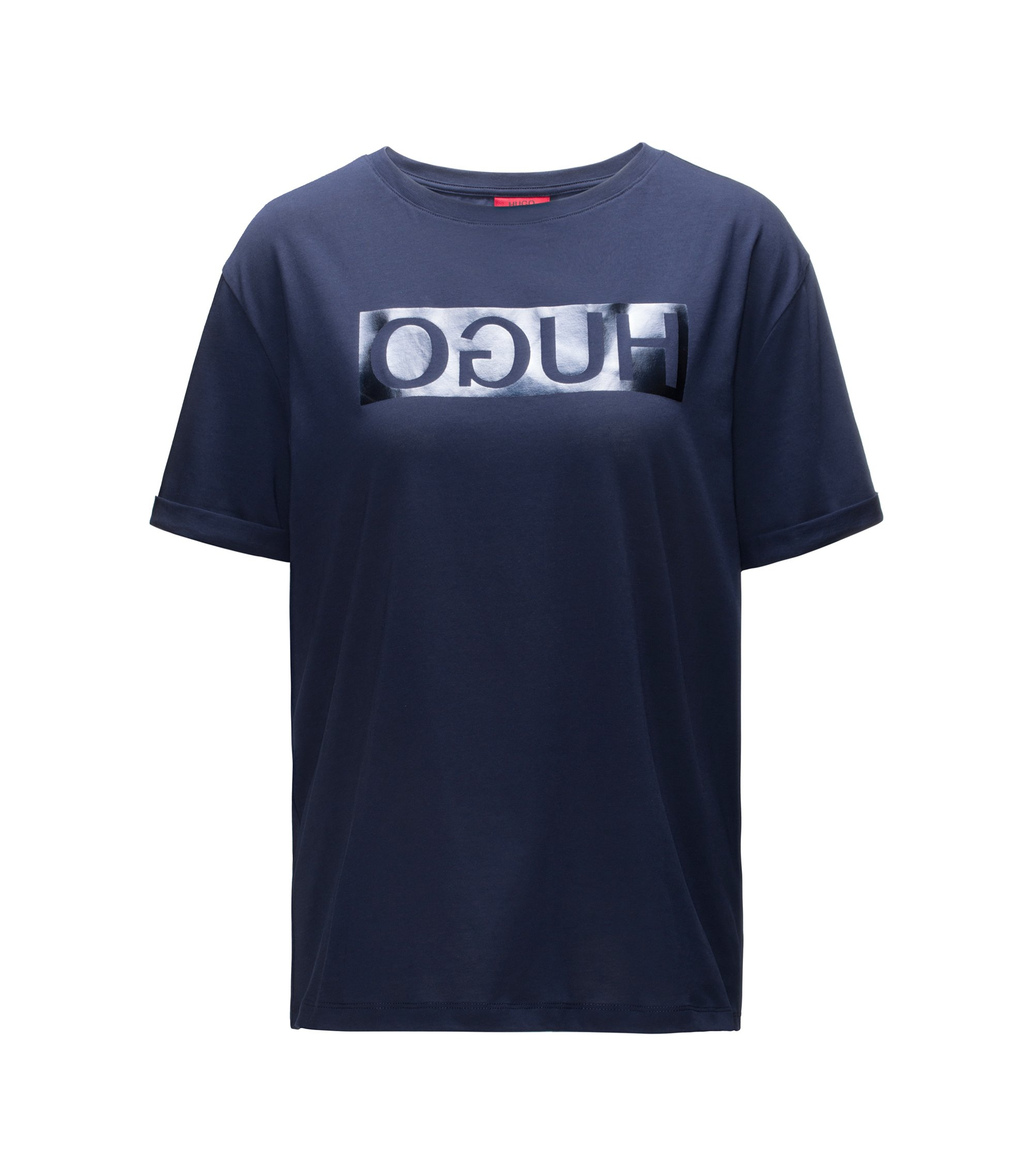 Short-sleeved cotton T-shirt with metallic reversed logo, Dark Blue