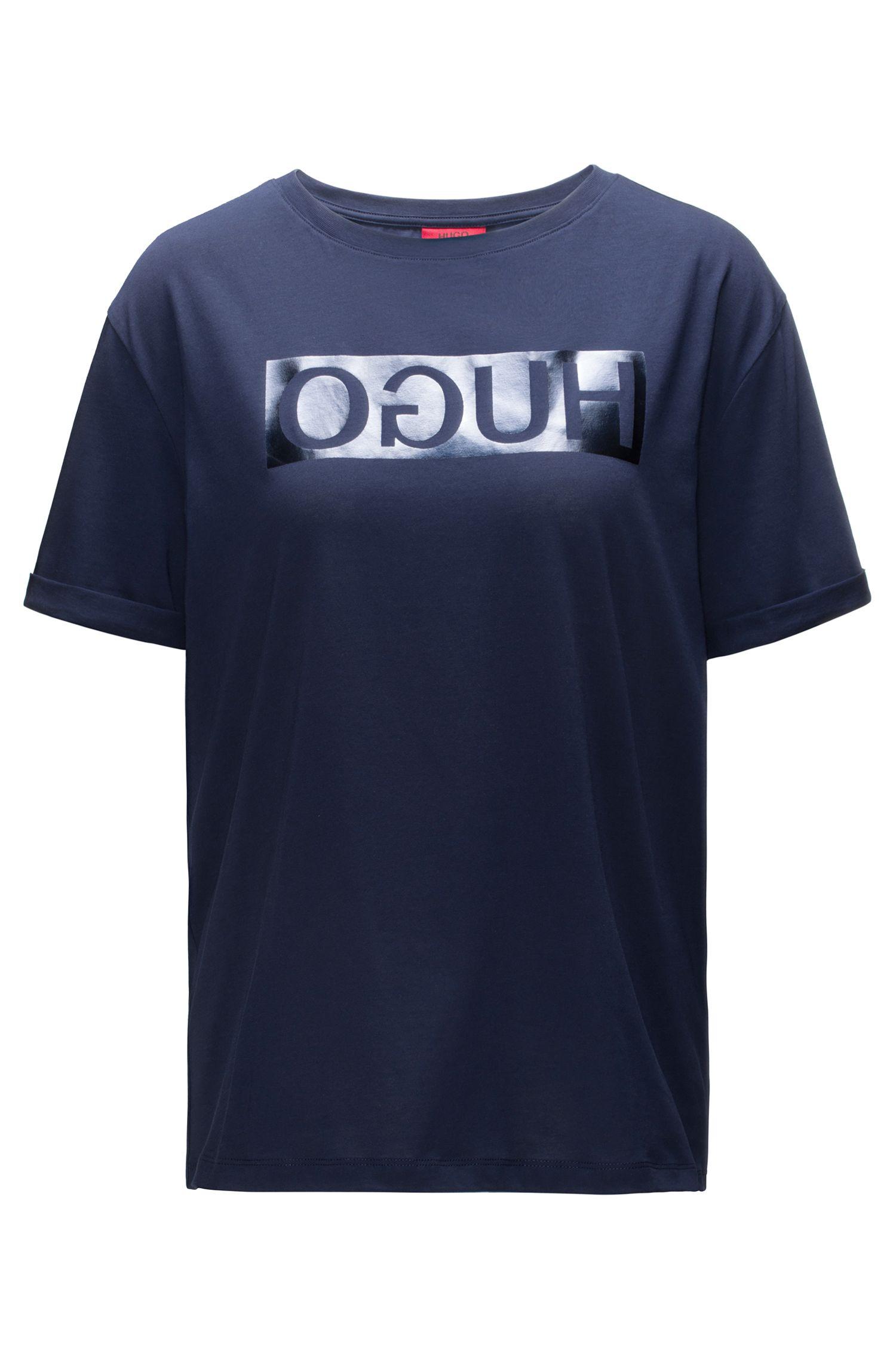 T-shirt à manches courtes en coton à logo inversé métallisé