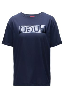 Reverse logo cotton jersey T-shirt in a relaxed fit, Dark Blue