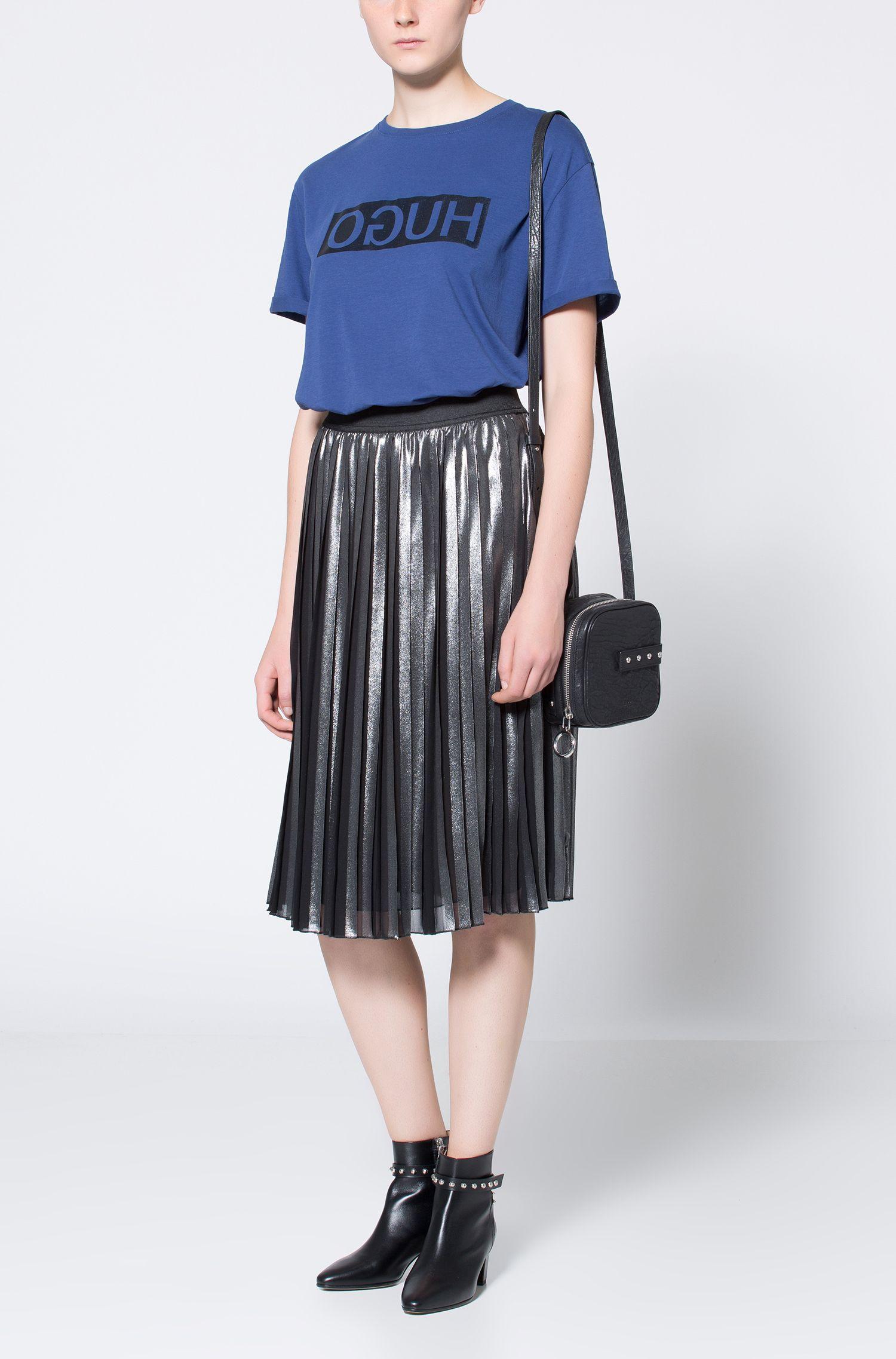 T-shirt à manches courtes en coton à logo inversé métallisé, Bleu