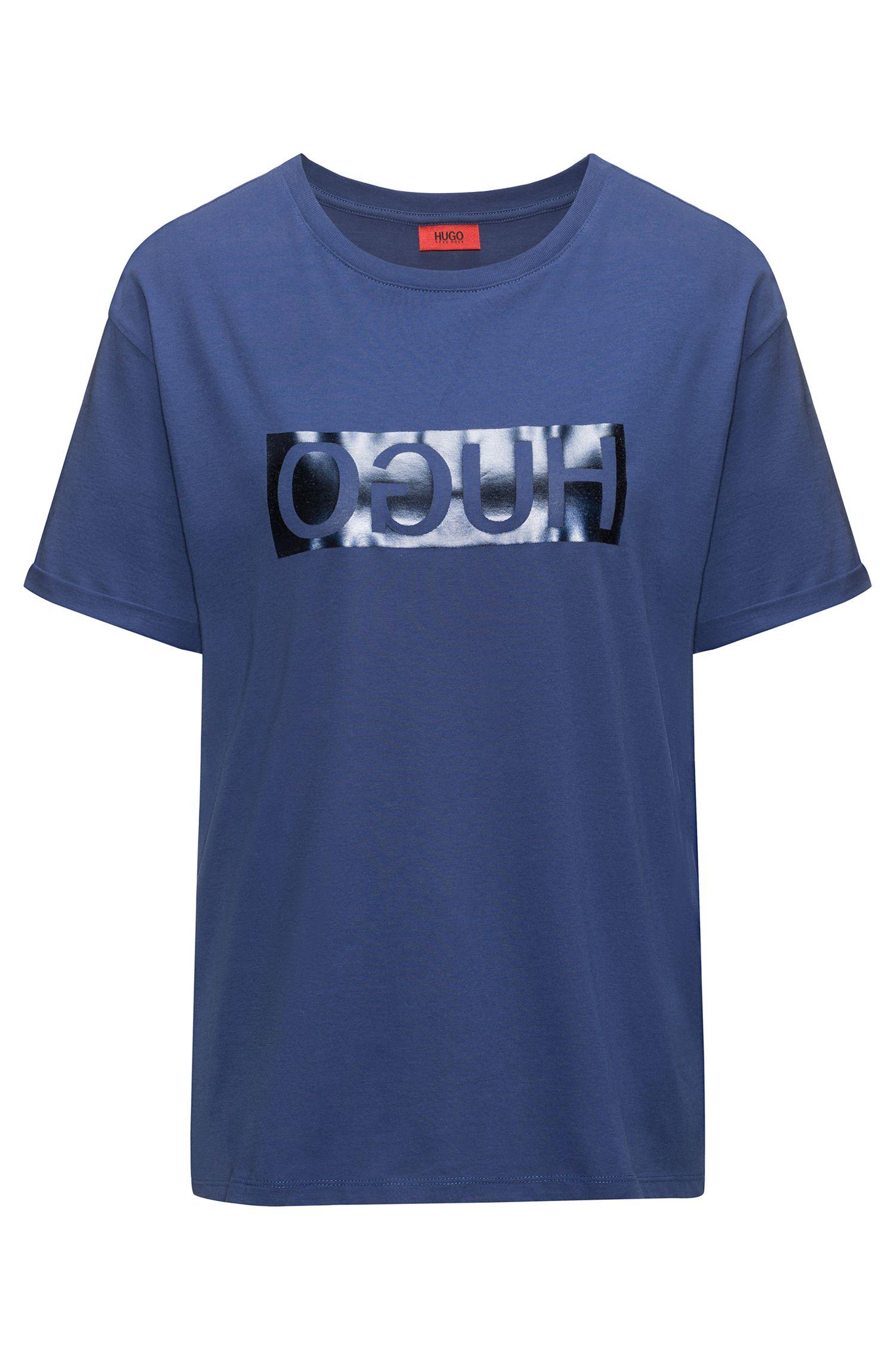 T-shirt van katoen met korte mouwen en gespiegeld metallic logo, Blauw