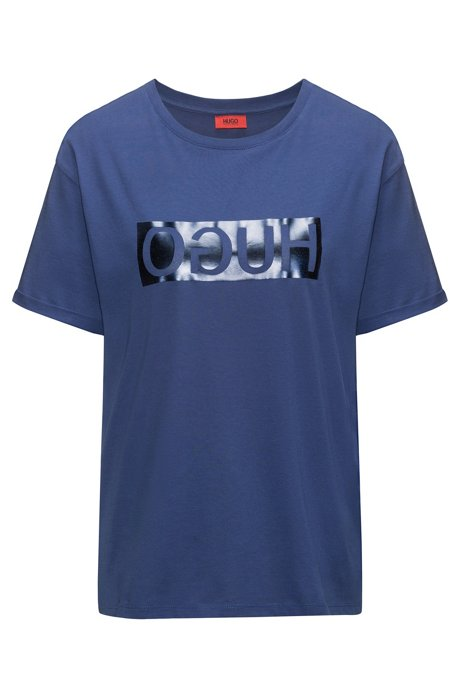 Short-sleeved cotton T-shirt with metallic reversed logo, Blue