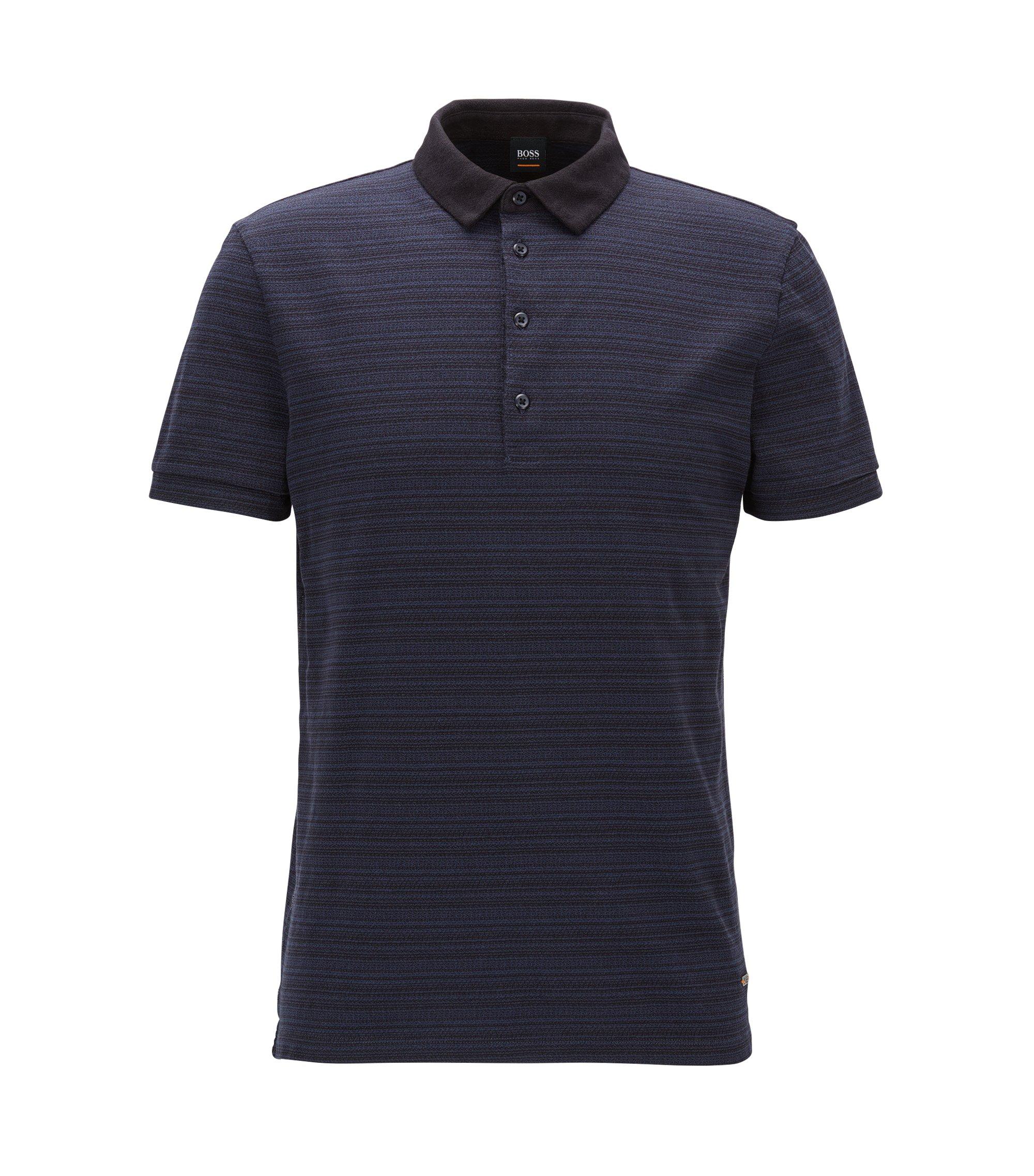 Regular-fit polo shirt in jacquard-stripe jersey , Dark Blue