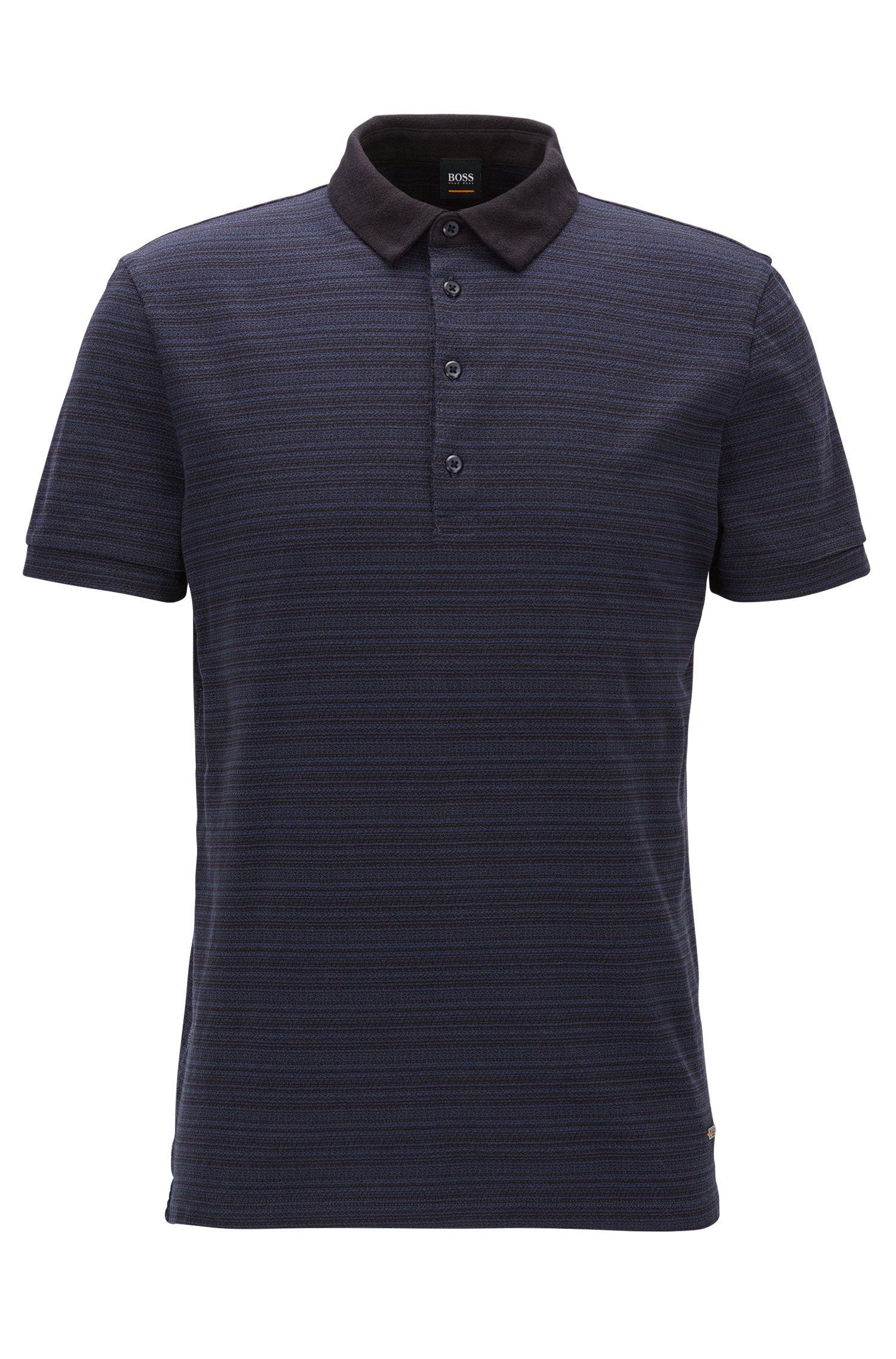 Regular-Fit Poloshirt aus Baumwolle mit Jacquard-Streifen