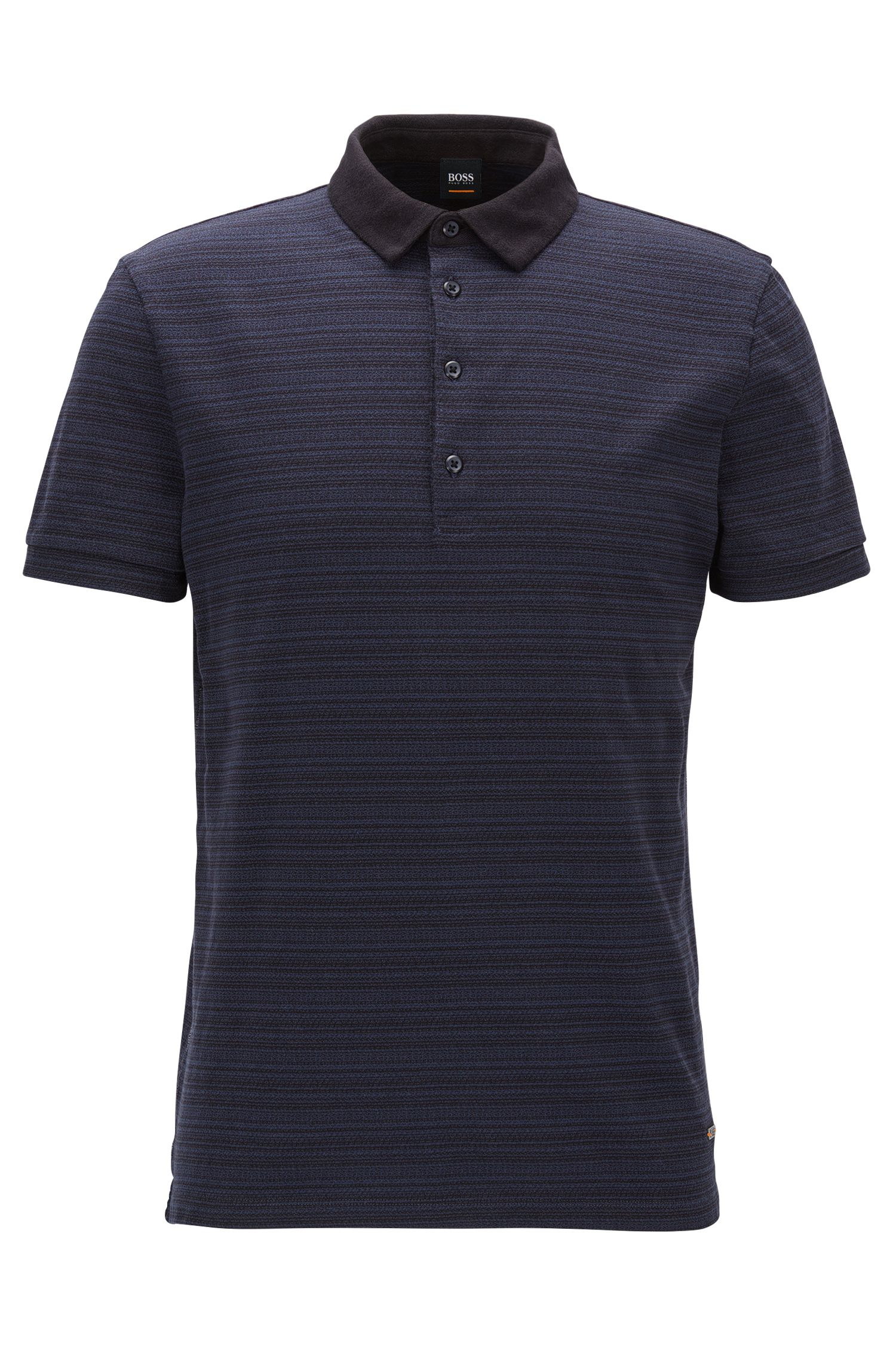 Polo regular fit en punto con rayas de jacquard