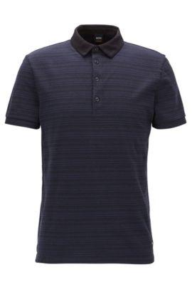 Polo regular fit in jersey con righe jacquard , Blu scuro