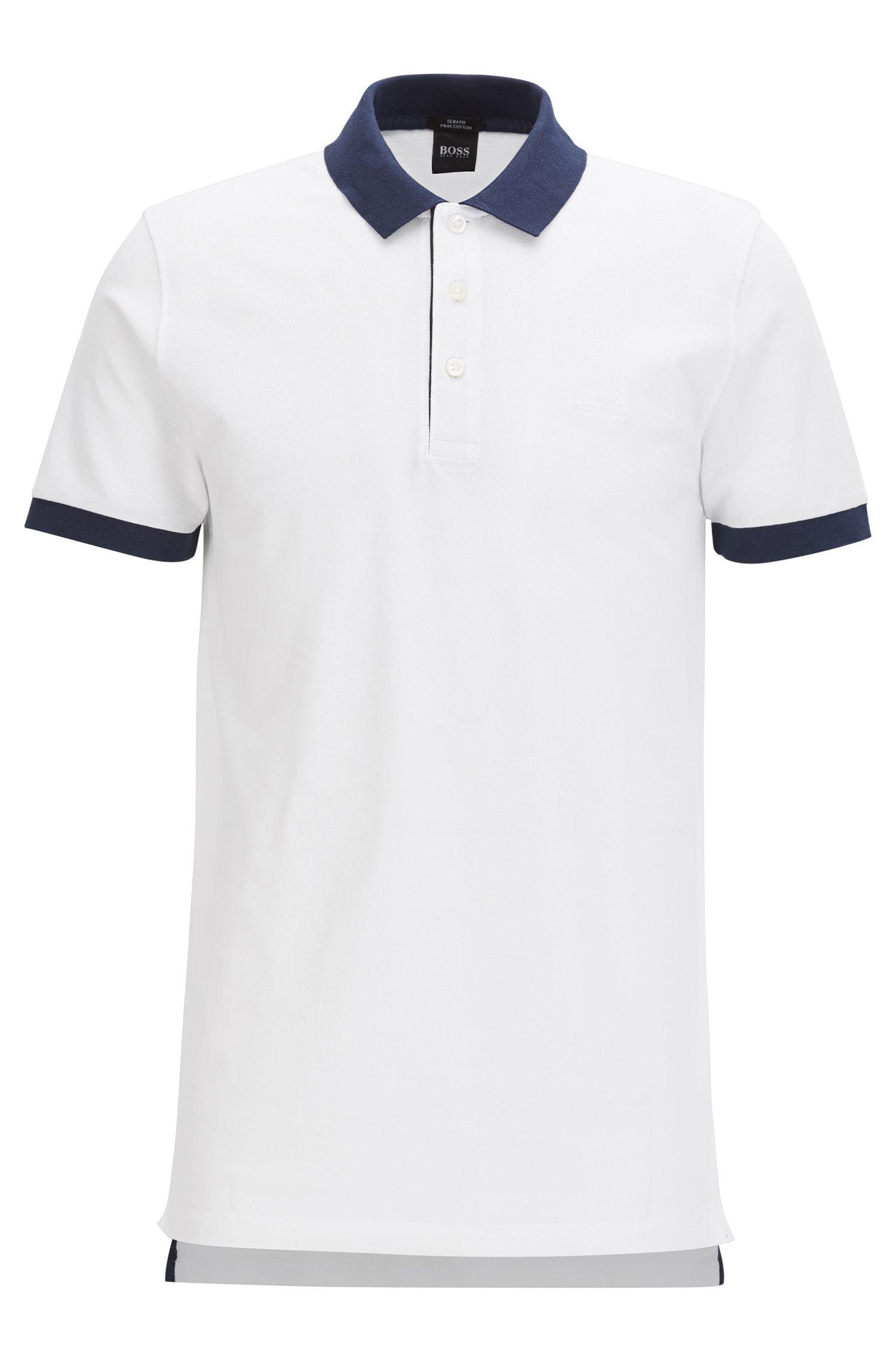 Slim-Fit Poloshirt aus Baumwolle mit Kontrasten