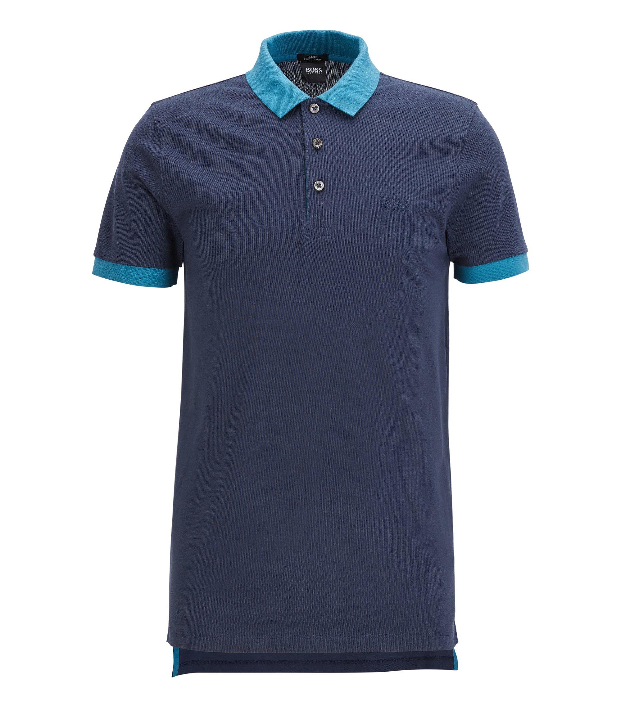 Polo Slim Fit en piqué de coton aux finitions contrastantes, Bleu foncé