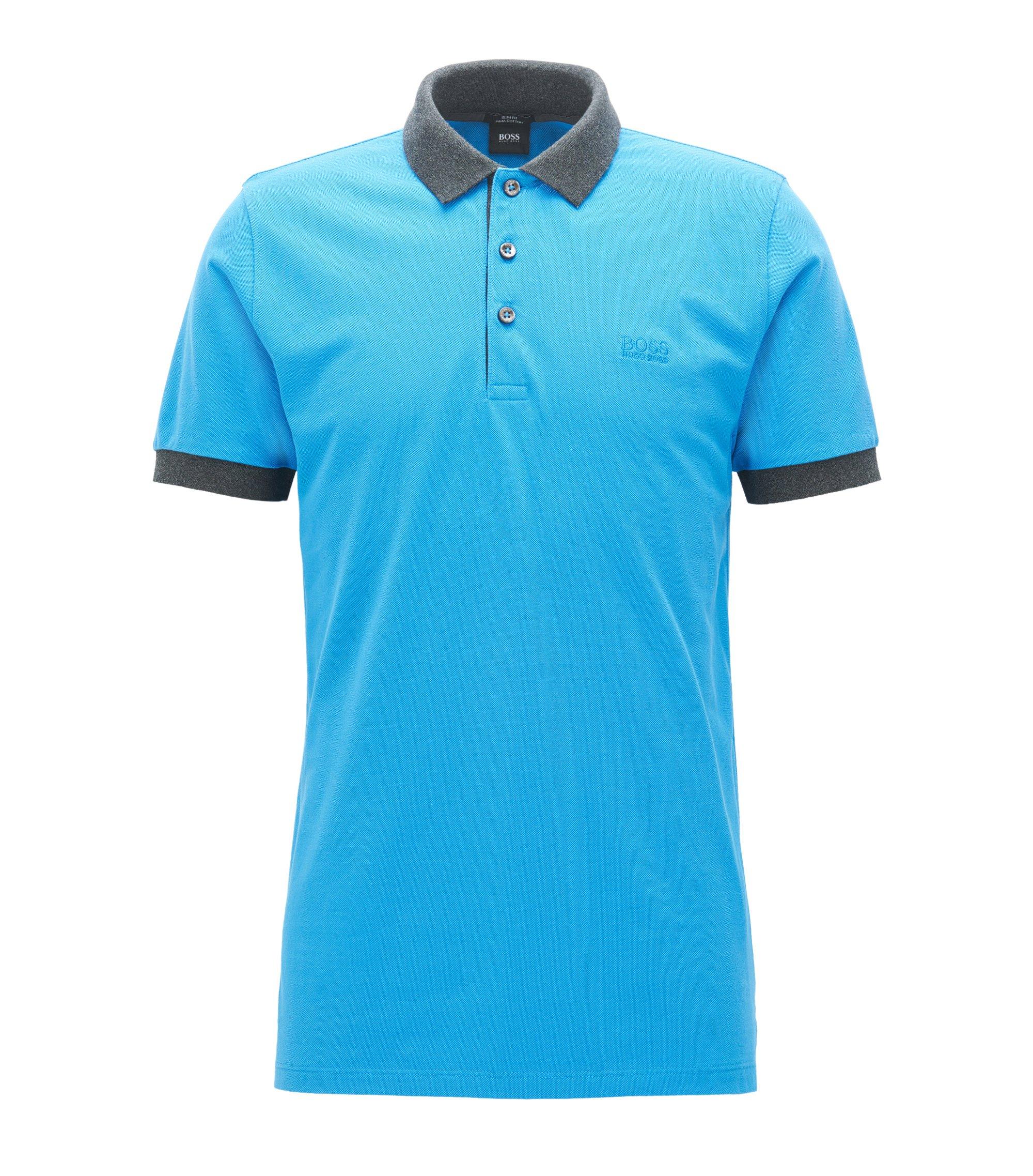 Polo slim fit en piqué de algodón con ribetes en contraste, Azul