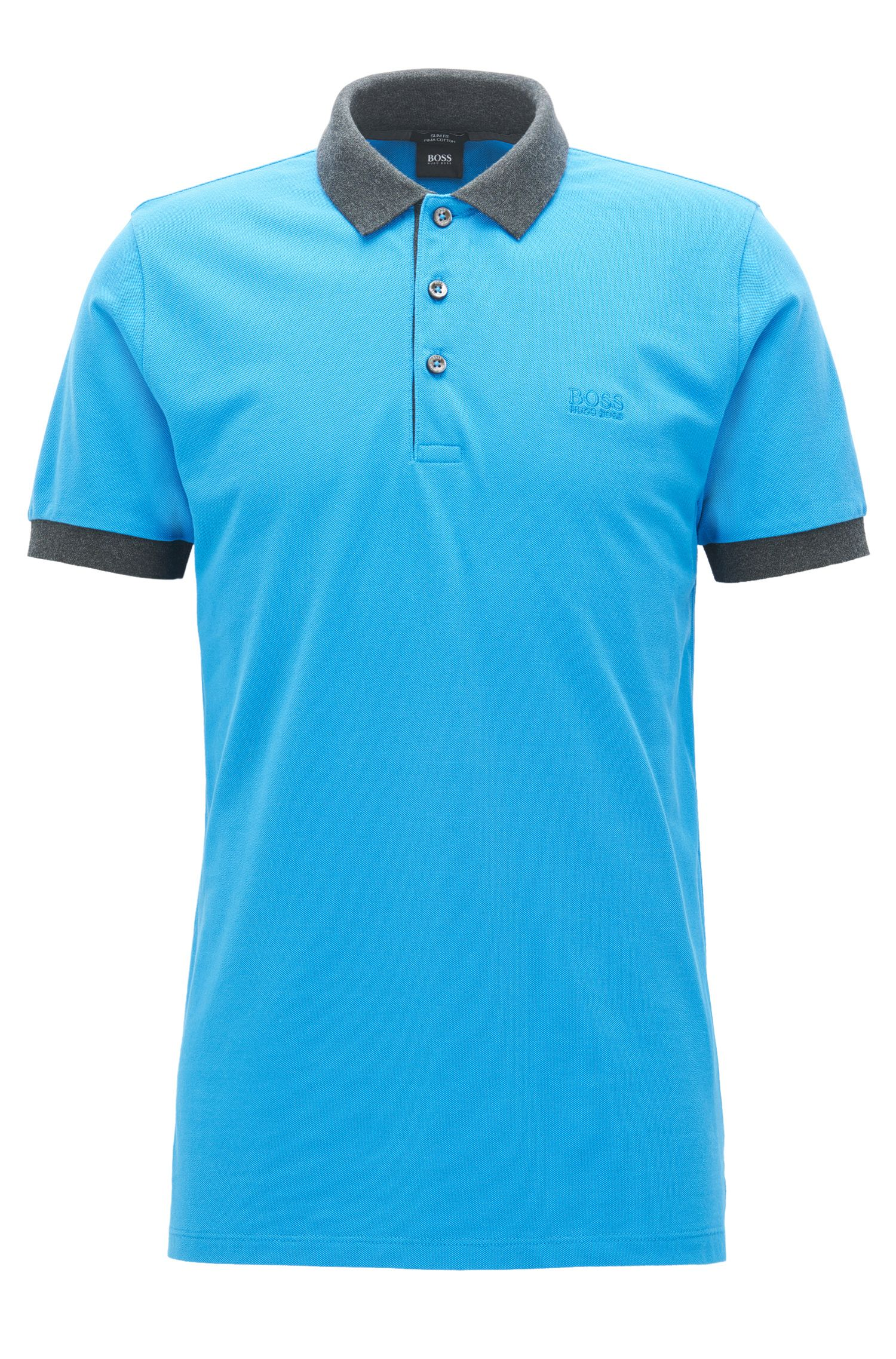 Slim-fit cotton-piqué polo shirt with contrast trims