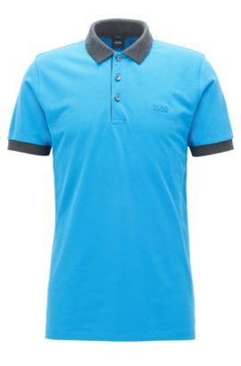 Polo Slim Fit en piqué de coton aux finitions contrastantes, Bleu