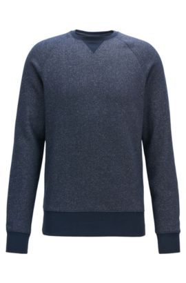 Mouliné sweatshirt in a soft cotton blend , Dark Blue