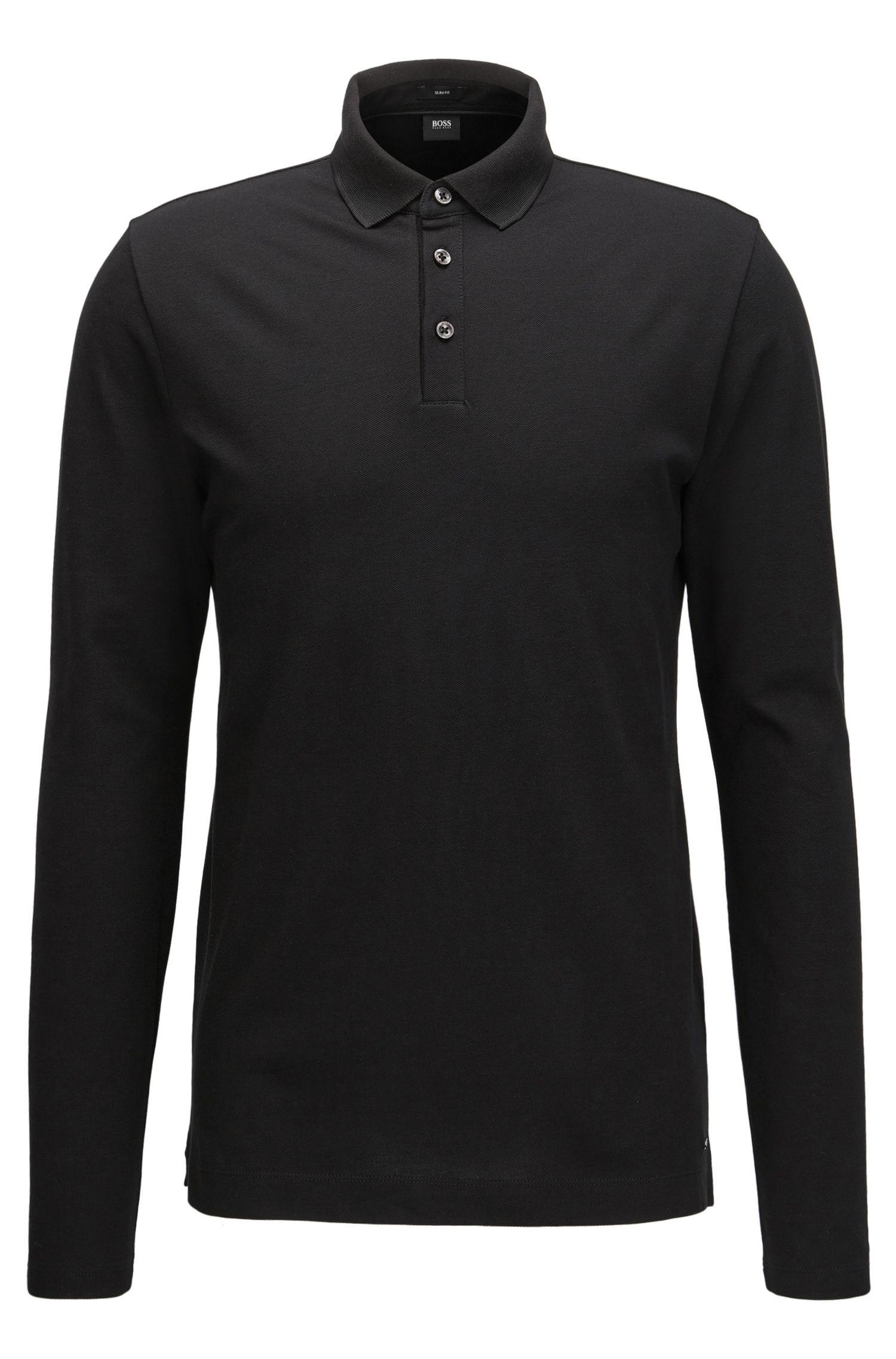 Slim-Fit Longsleeve Poloshirt aus Baumwoll-Piqué mit Einfassungen