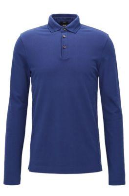 Slim-Fit Longsleeve Poloshirt aus Baumwoll-Piqué mit Einfassungen, Dunkelblau