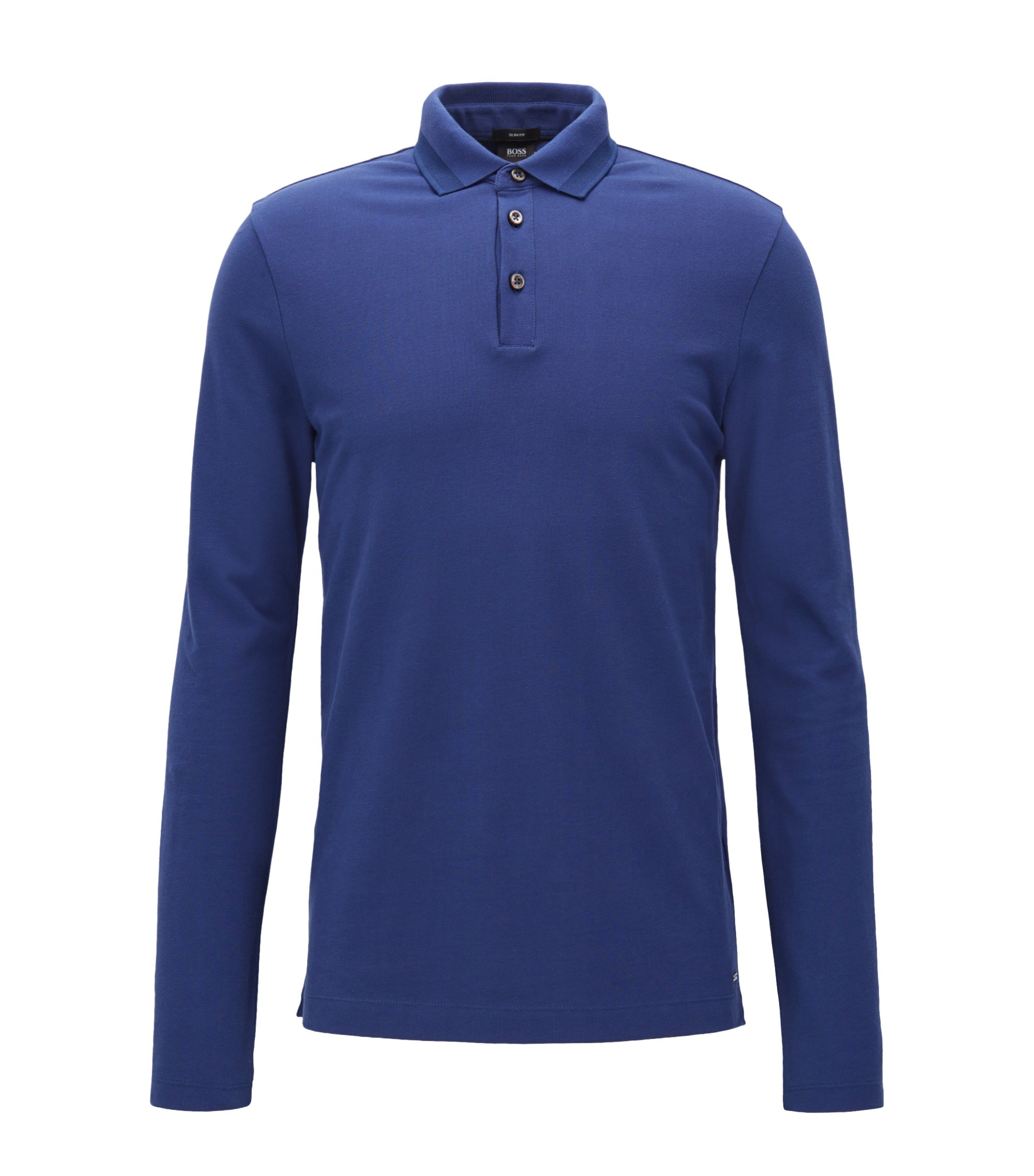 Polo a maniche lunghe slim fit in piqué di cotone con bordo, Blu scuro