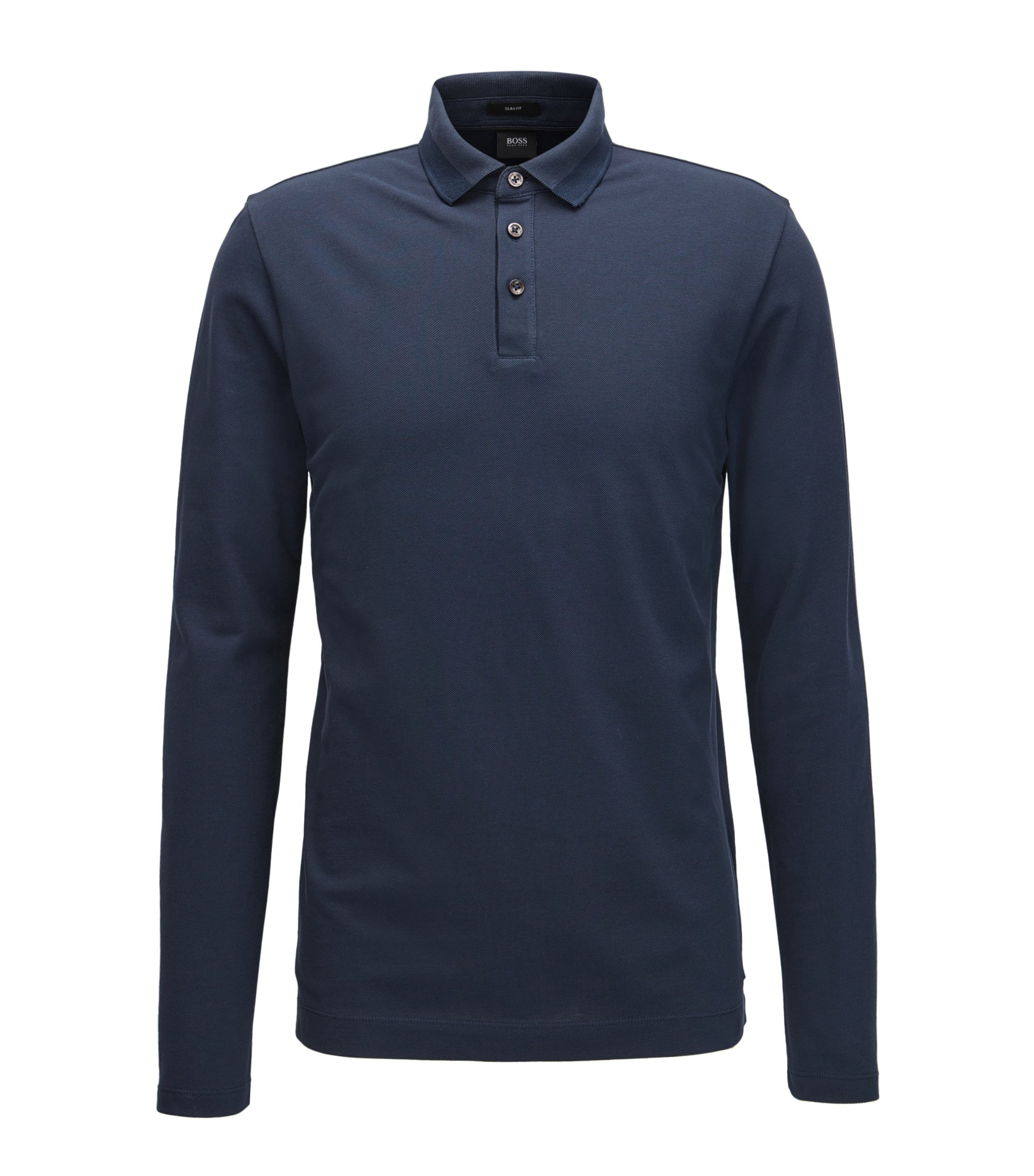 Slim-fit long-sleeved polo shirt in cotton piqué with tipping, Dark Blue