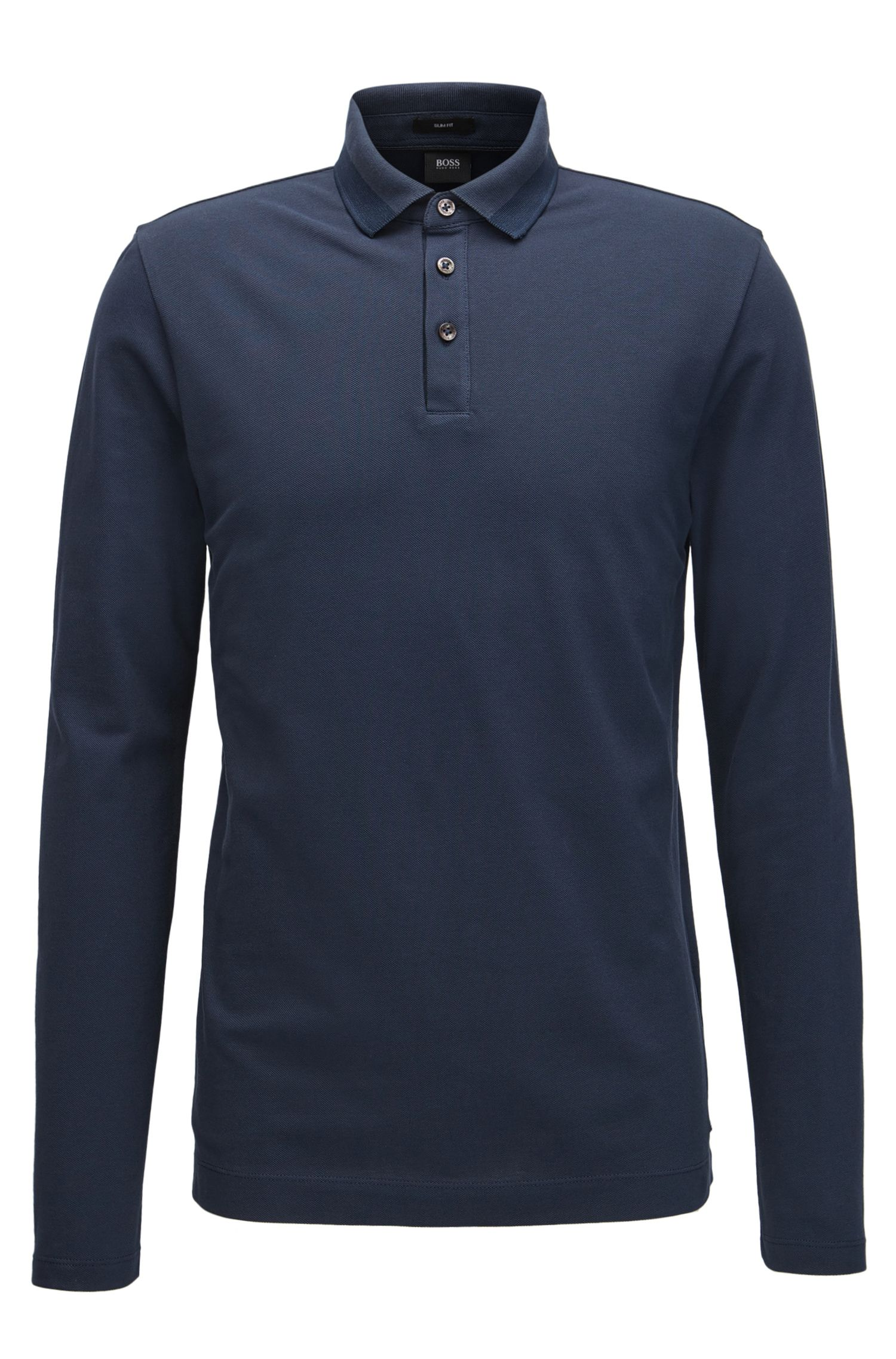 Slim-fit long-sleeved polo shirt in cotton piqué with tipping