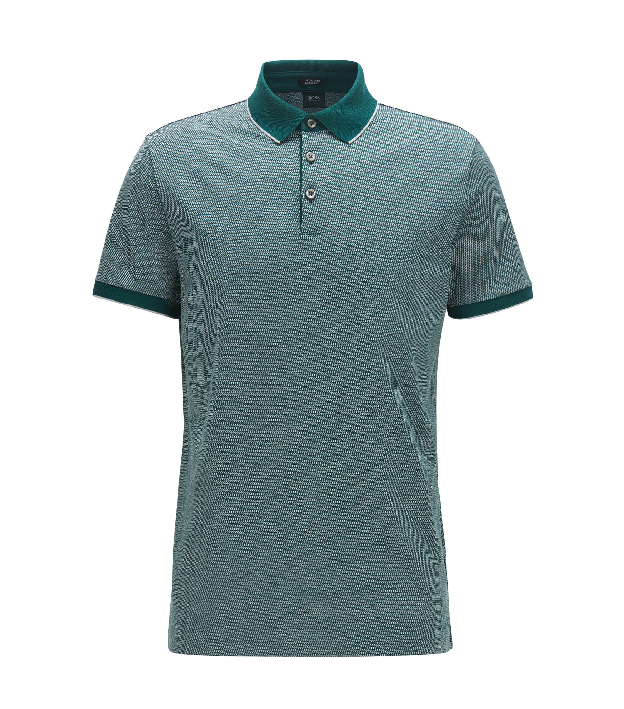 Regular-fit polo shirt in cotton jacquard, Dark Green
