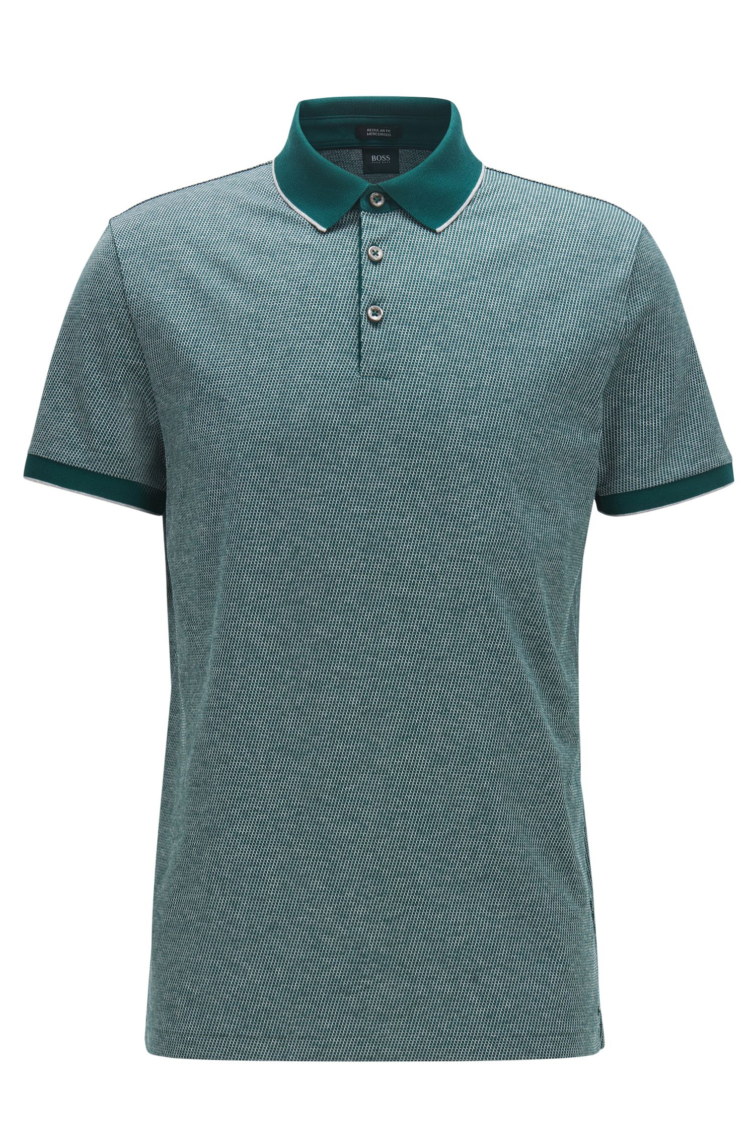 Regular-Fit Poloshirt aus Baumwoll-Jacquard