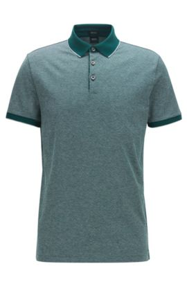 Polo Regular Fit en jacquard de coton, Vert sombre