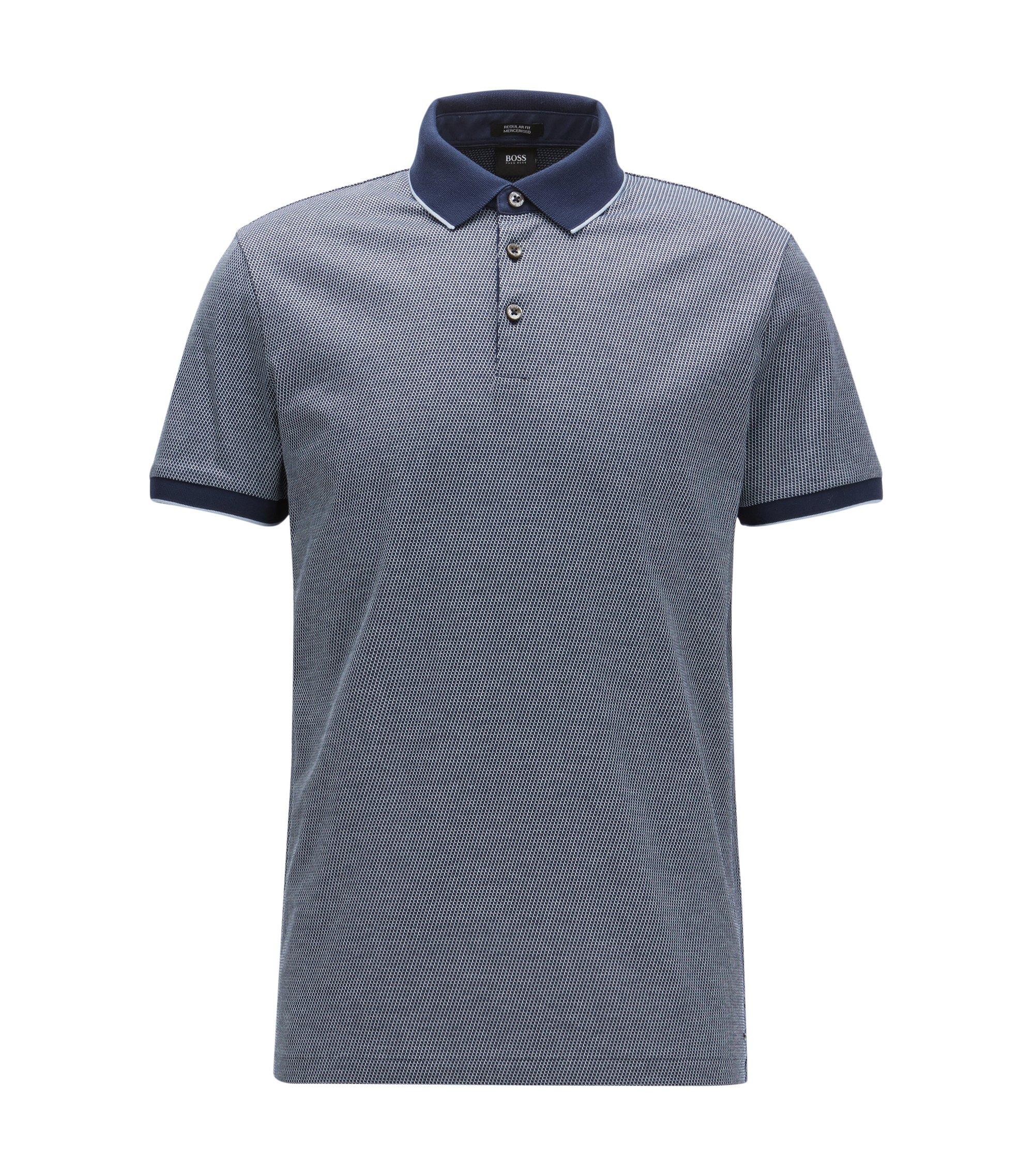 Polo Regular Fit en jacquard de coton, Bleu foncé