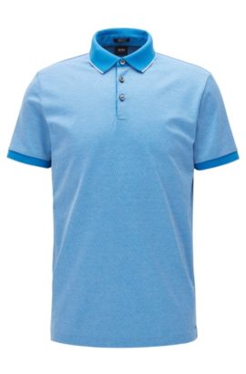 Polo Regular Fit en jacquard de coton, Bleu