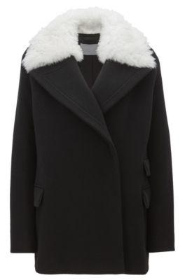 Abrigo relaxed fit en mezcla de lana con cuello desmontable de lana de cordero, Negro
