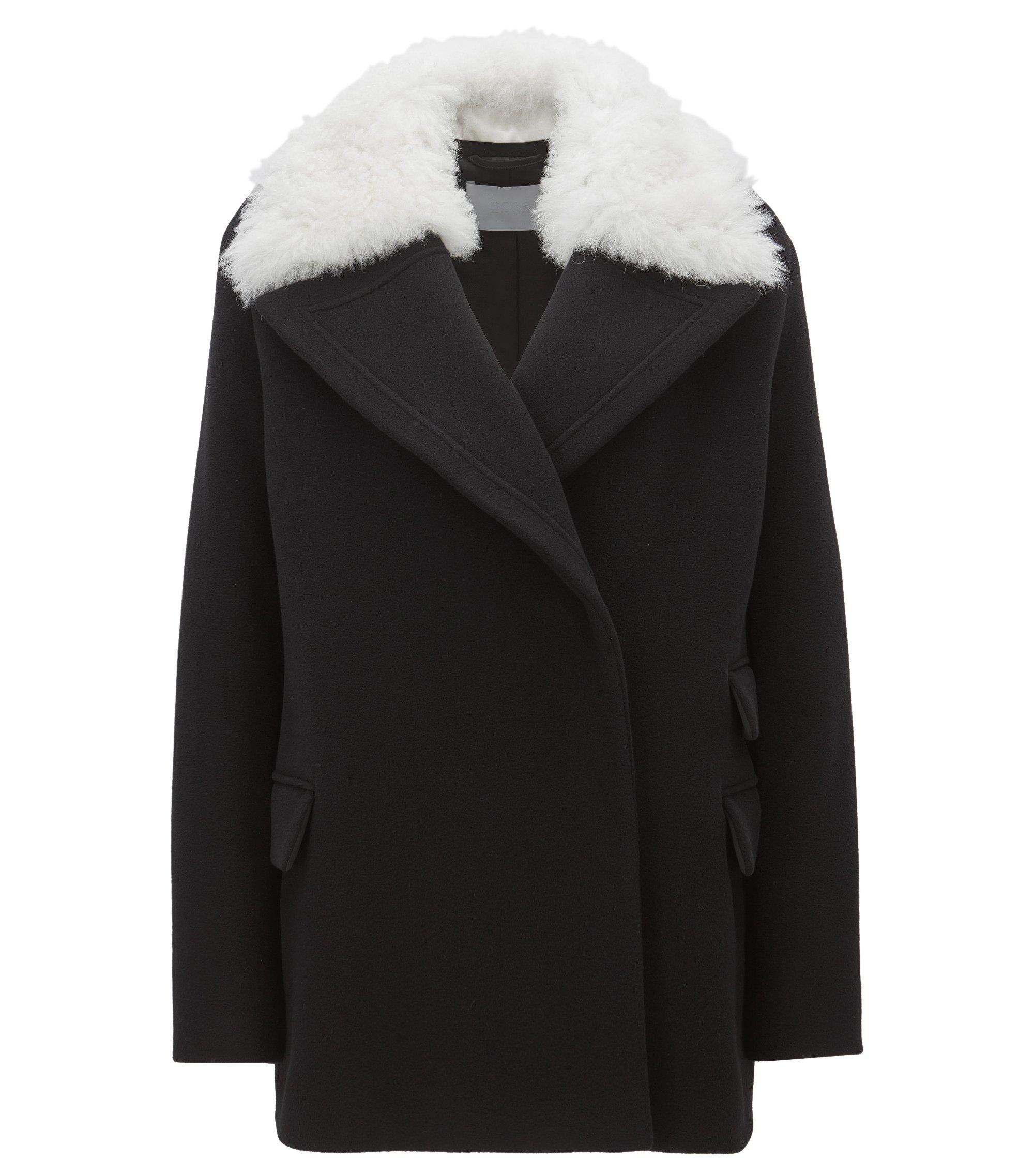 Relaxed-Fit Mantel aus Woll-Mix mit Kaschmir mit abnehmbarem Lammfellkragen, Schwarz