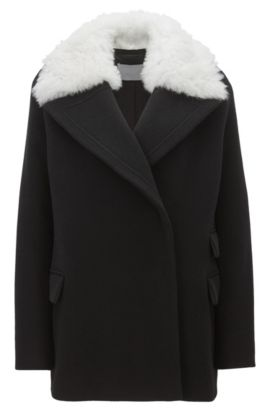 Wool-blend relaxed-fit coat with detachable shearling collar, Black