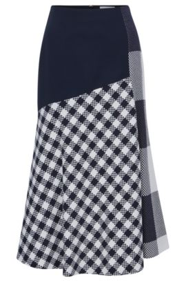 Knee-length skirt in checked cotton, Patterned
