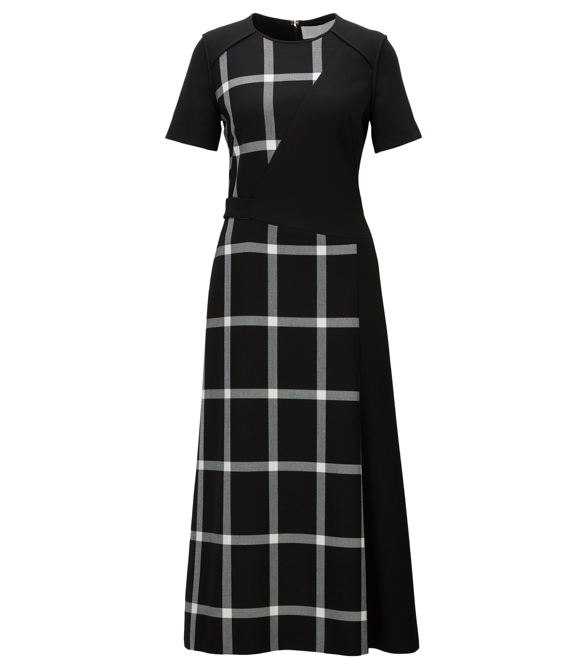 Midi-length dress with checked panelling, Patterned