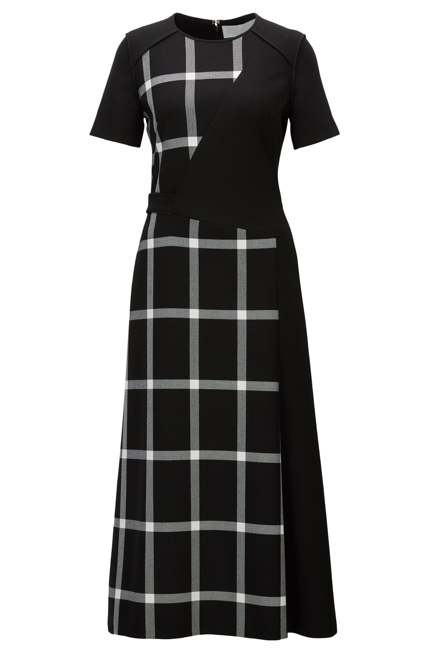 Midi-length dress with checked panelling