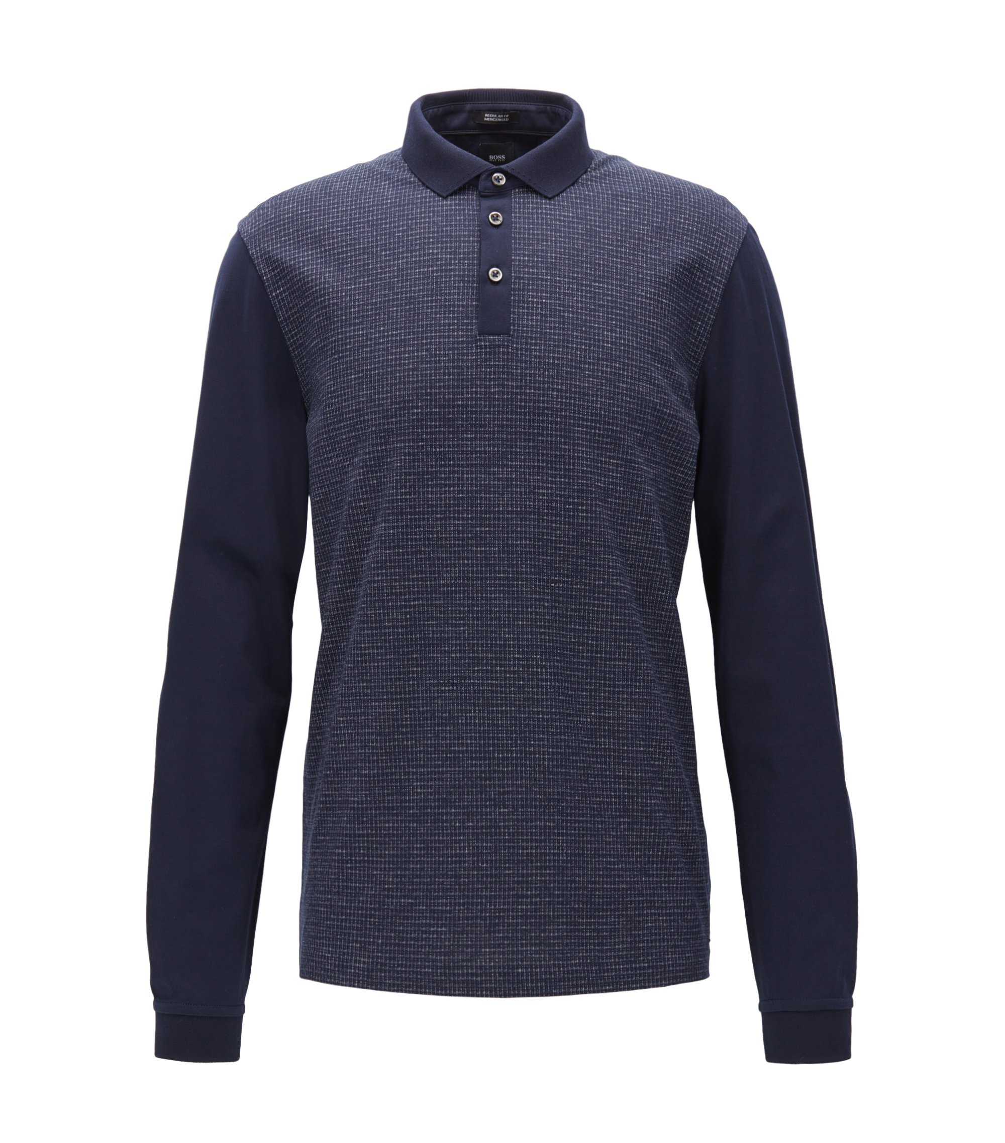 Regular-fit mouliné-check polo shirt with long sleeves, Dark Blue