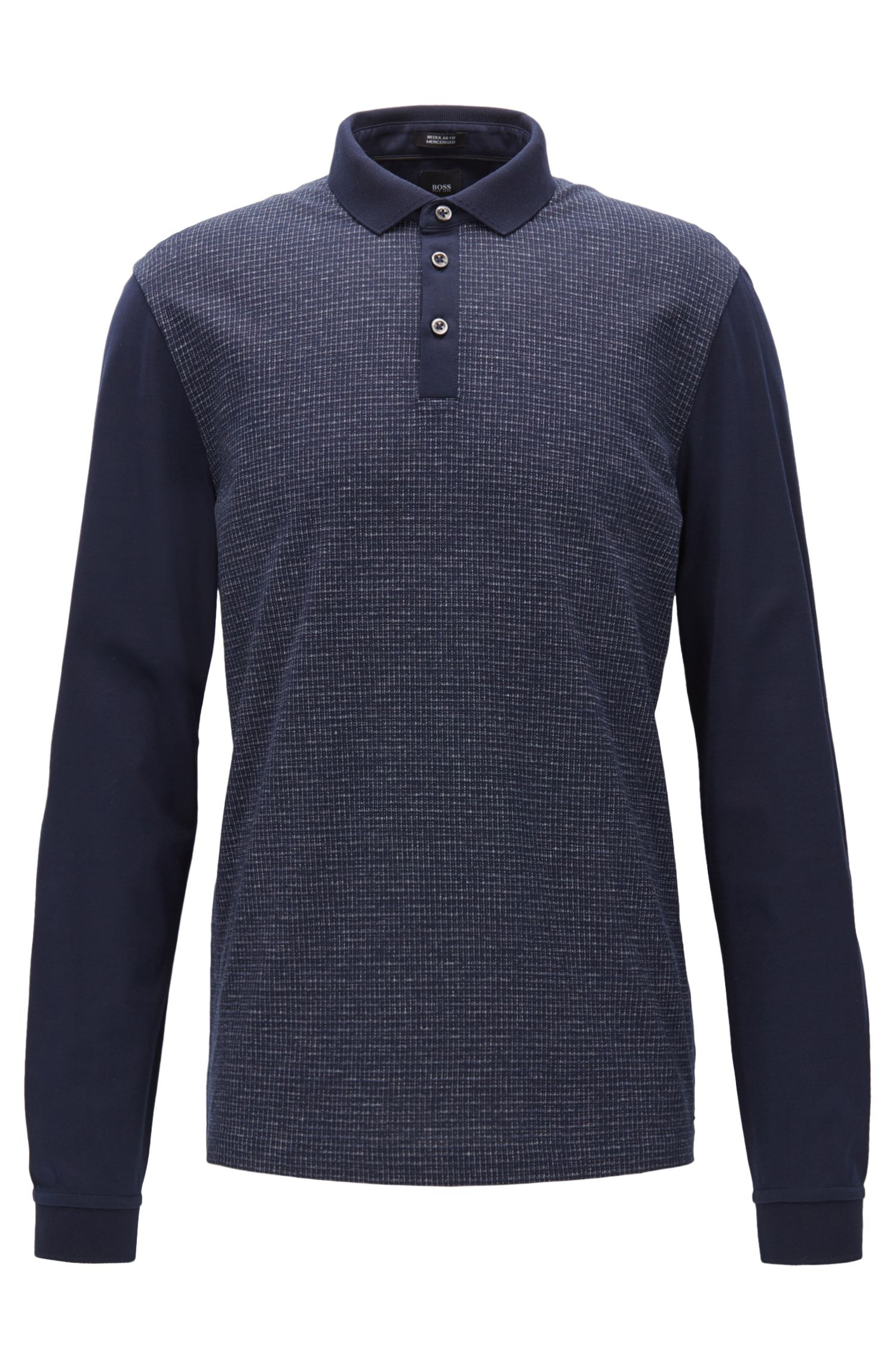 Regular-fit mouliné-check polo shirt with long sleeves